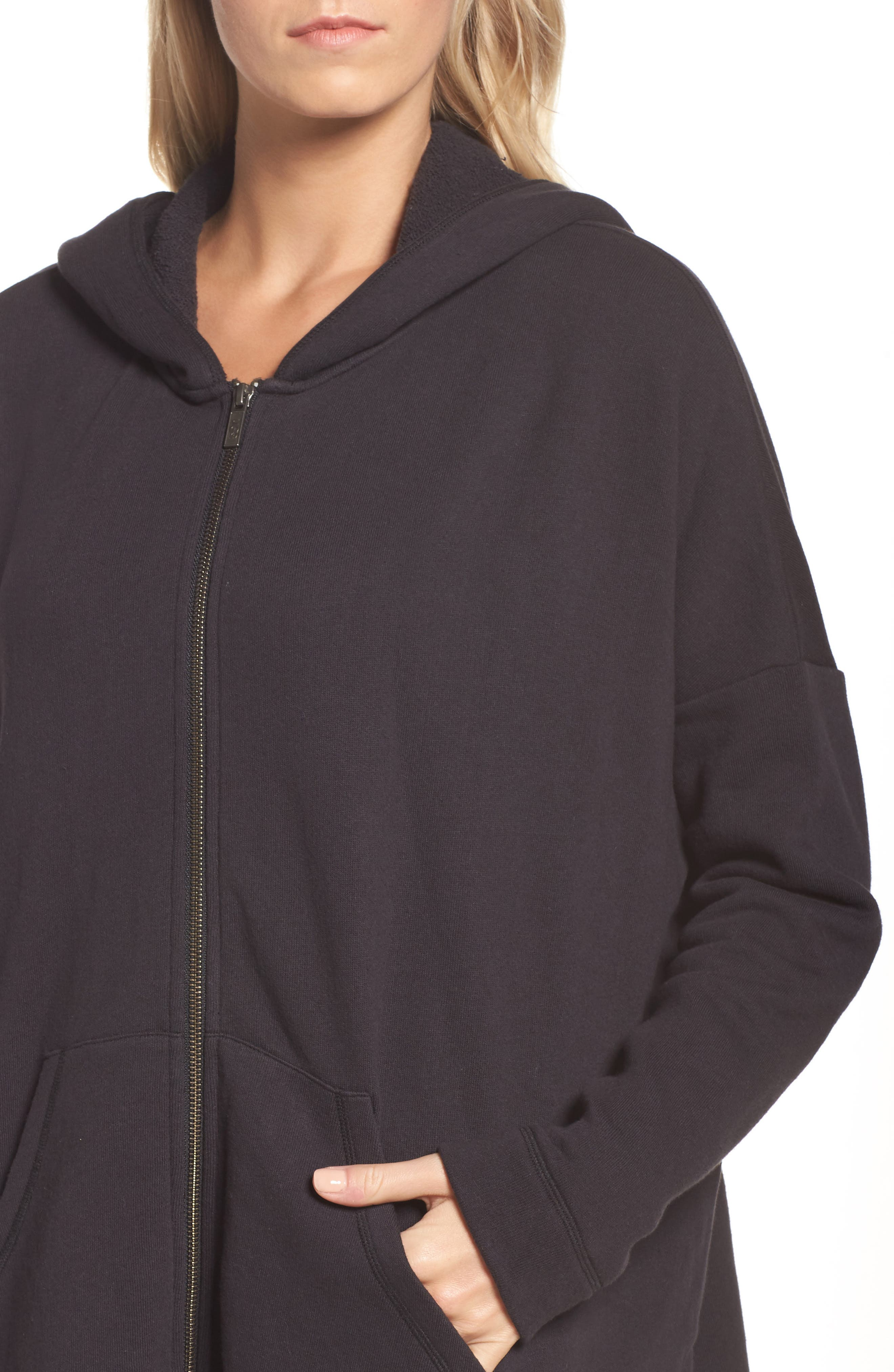 Pearl Oversize Hoodie,                             Alternate thumbnail 4, color,                             BLACK