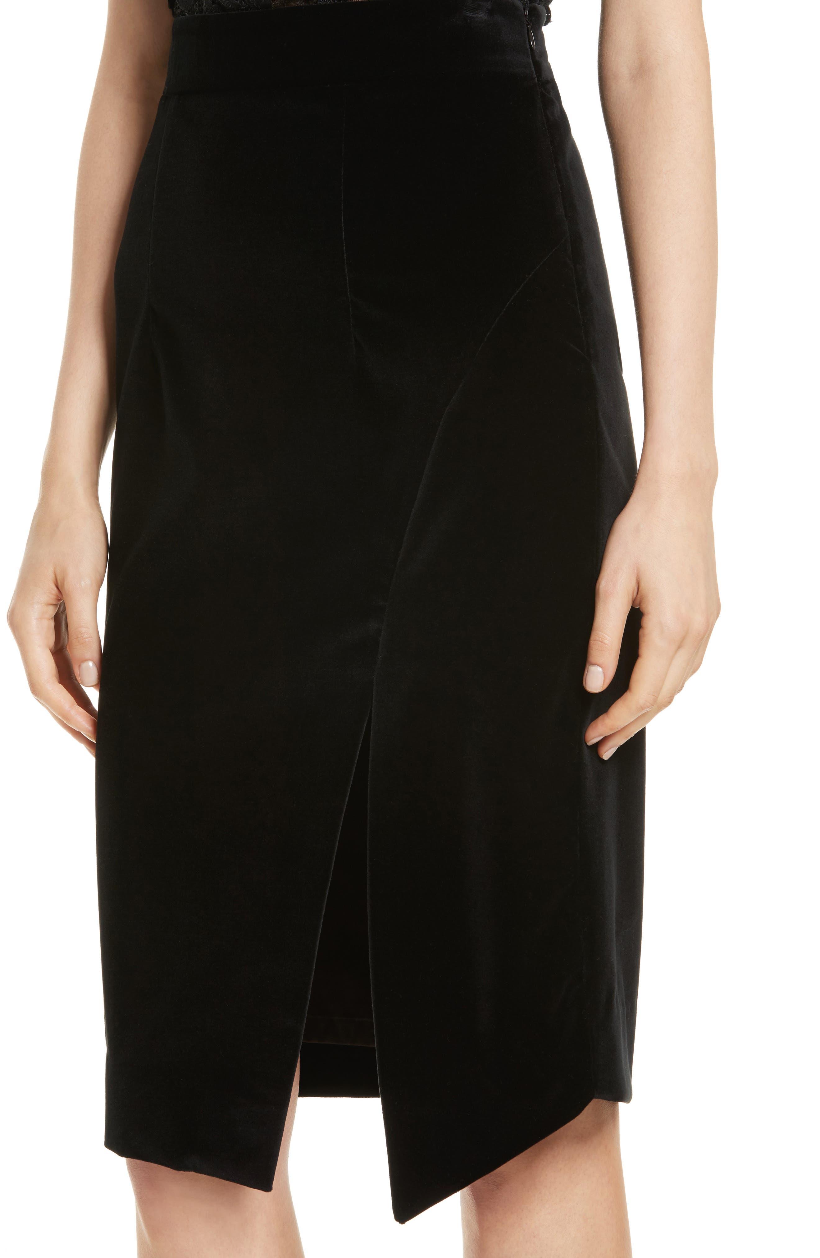 Robin Velveteen Faux Wrap Skirt,                             Alternate thumbnail 4, color,                             001