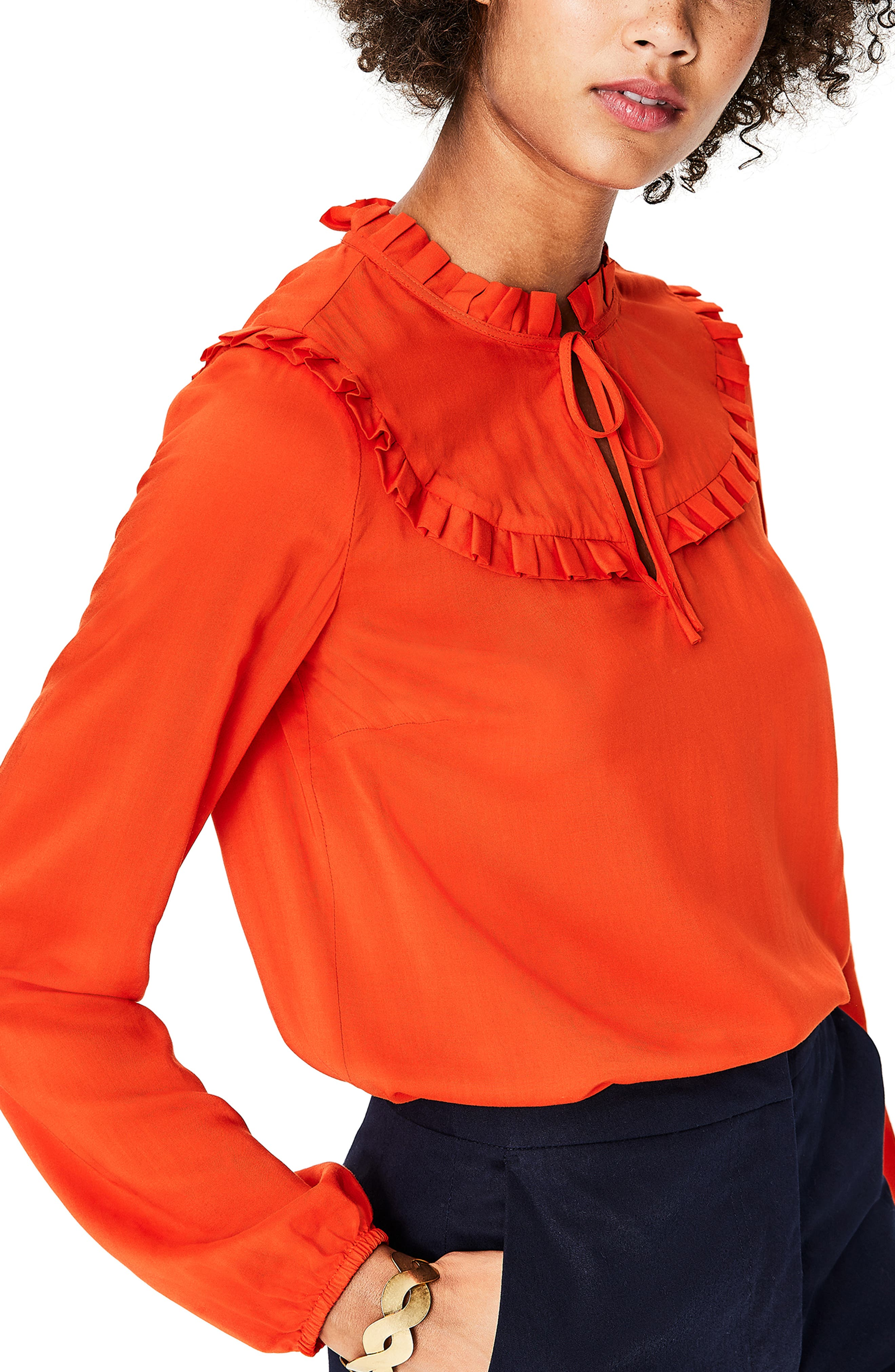 Betsy Ruffle Top,                             Alternate thumbnail 3, color,                             RED POP