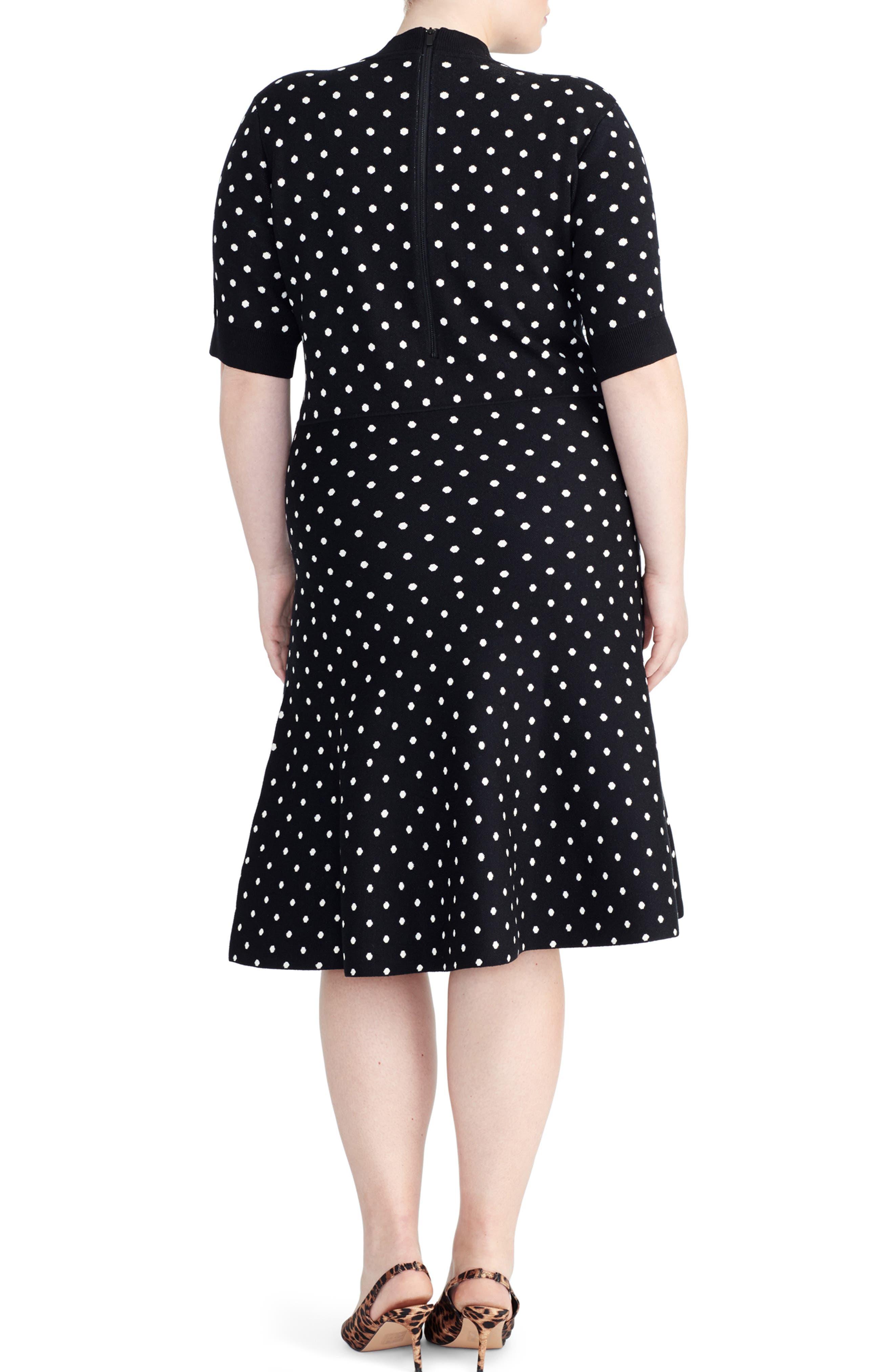 RACHEL ROY COLLECTION,                             Polka Dot Fit & Flare Dress,                             Alternate thumbnail 2, color,                             BLACK/ LIGHT BIEGE