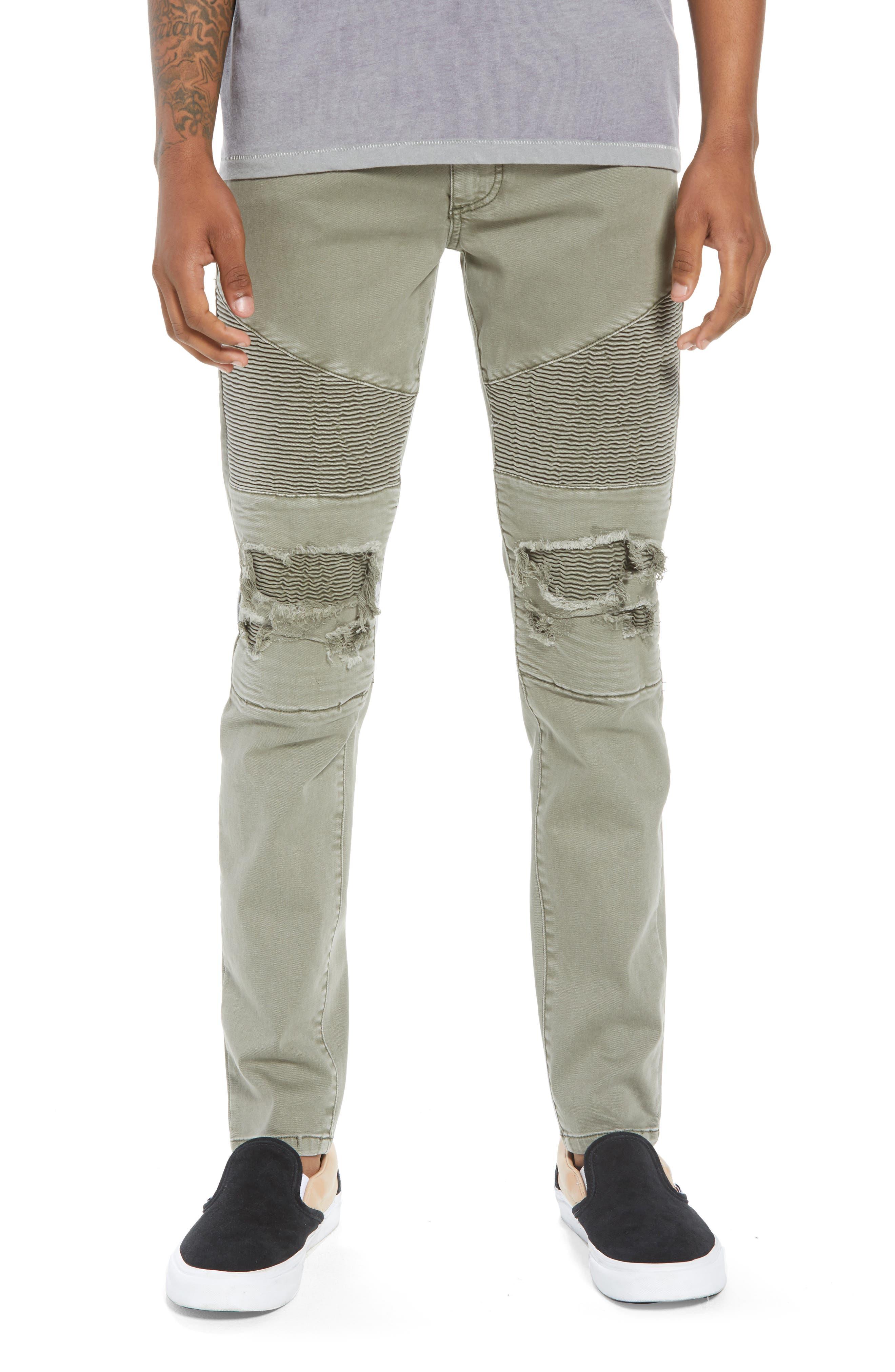 Combination Moto Skinny Moto Jeans,                         Main,                         color, KHAKI