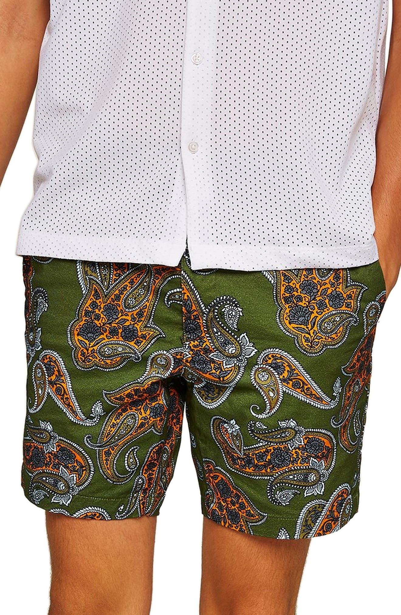 Slim Fir Paisley Print Shorts,                             Main thumbnail 1, color,                             DARK BLUE
