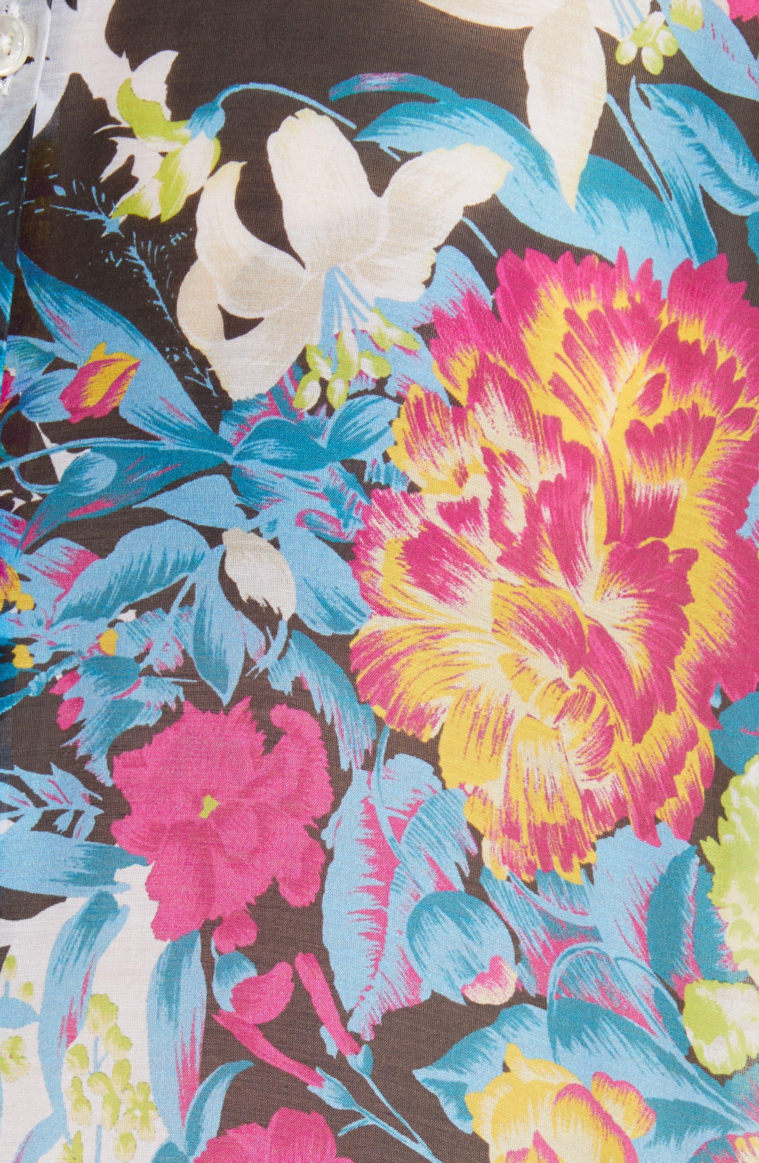 Floral Print Cotton & Silk Blouse,                             Alternate thumbnail 5, color,                             100