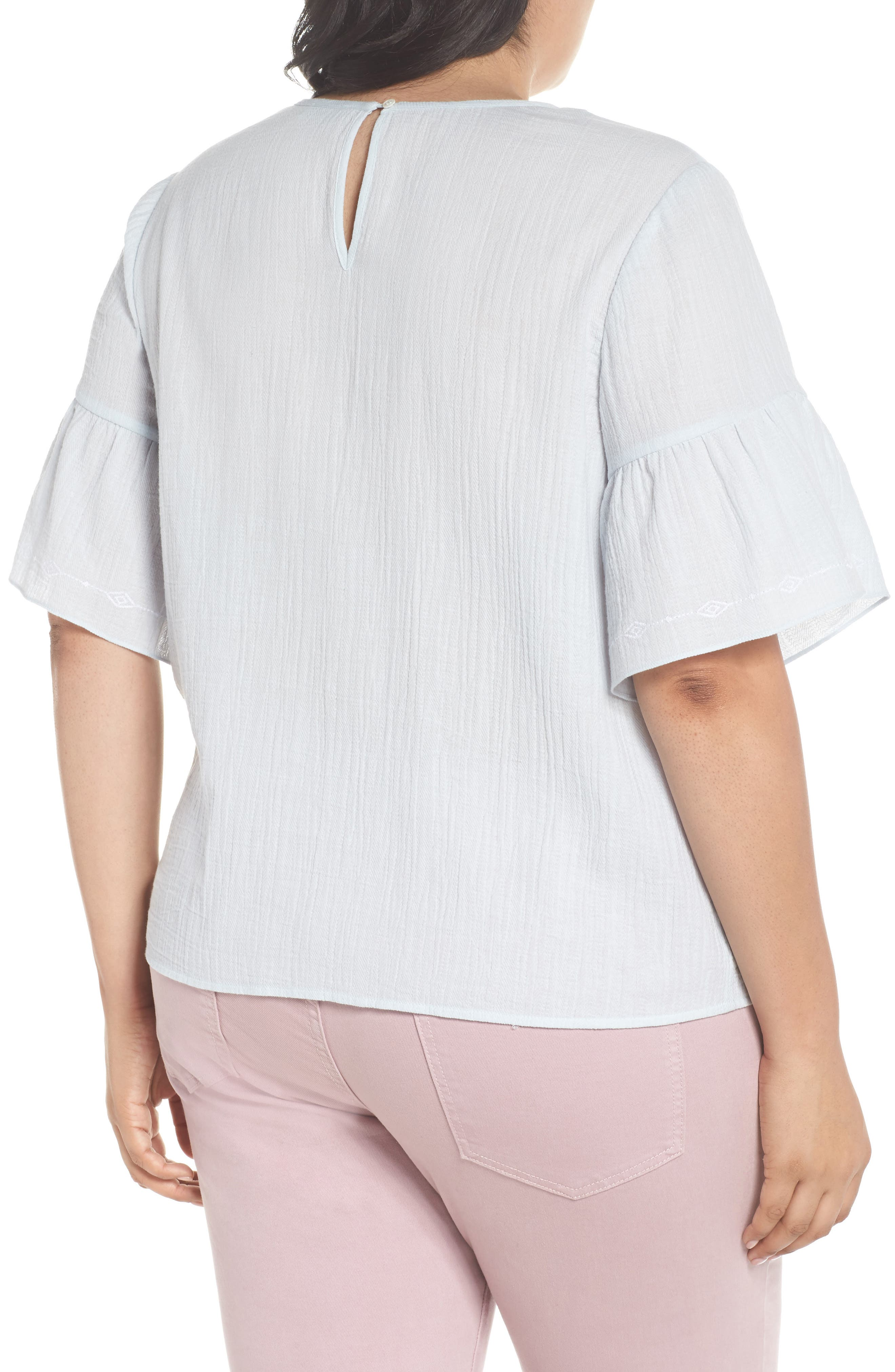 Ruffle Sleeve Embroidered Crinkle Cotton Top,                             Alternate thumbnail 2, color,                             CHALK BLUE