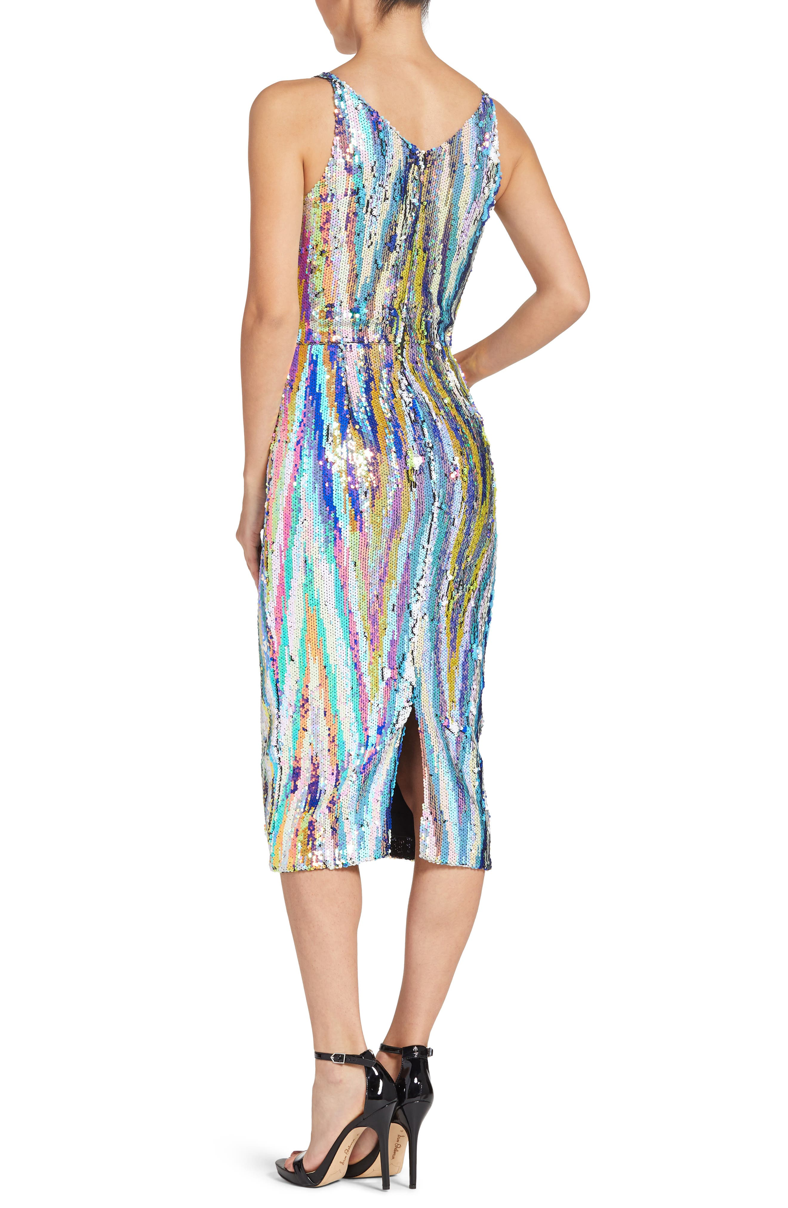 Margo Plunge Neck Sequin Dress,                             Alternate thumbnail 2, color,                             OPAL MULTI