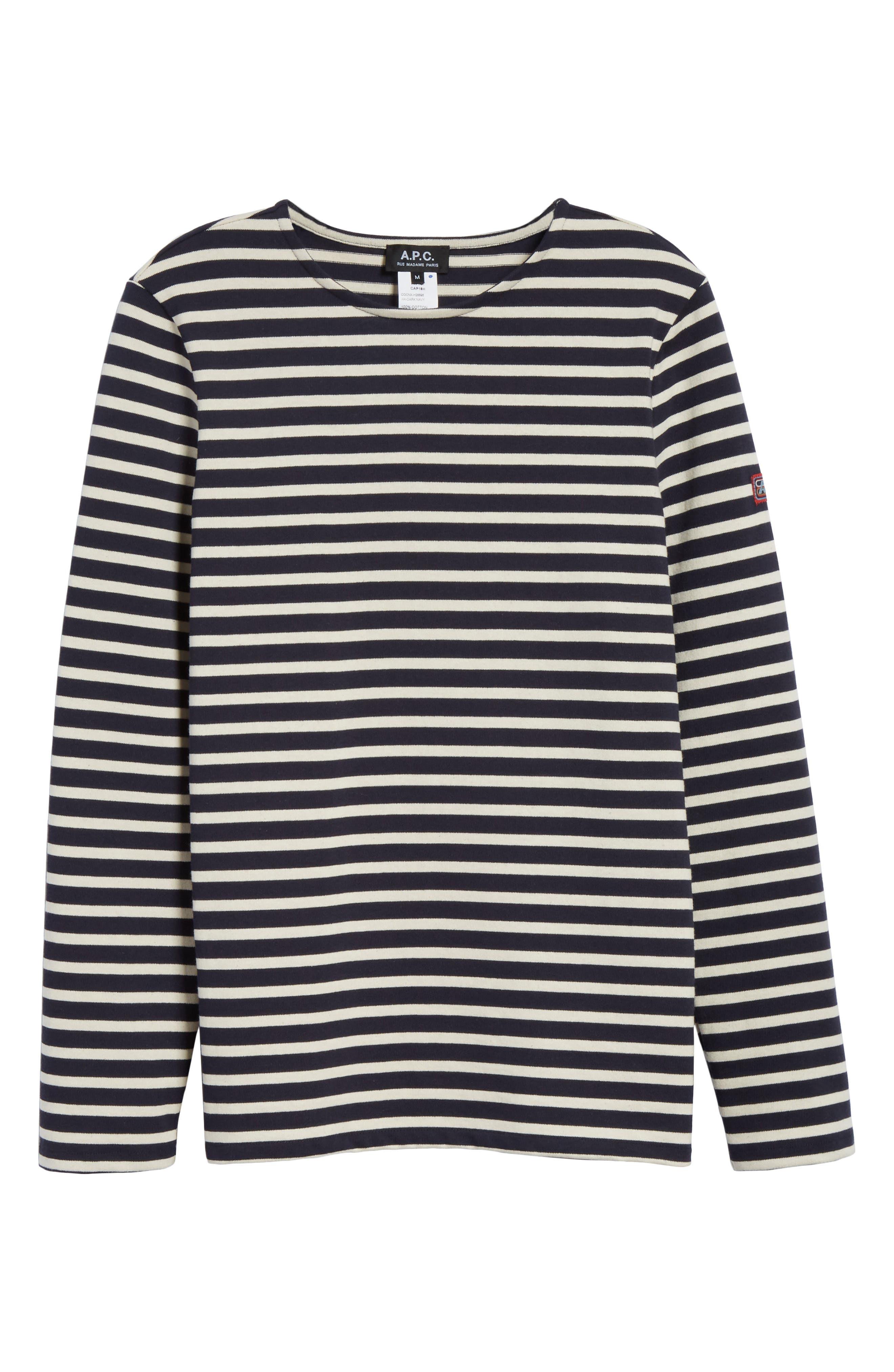 Marinière Matt Stripe Long Sleeve T-Shirt,                             Alternate thumbnail 6, color,                             DARK NAVY