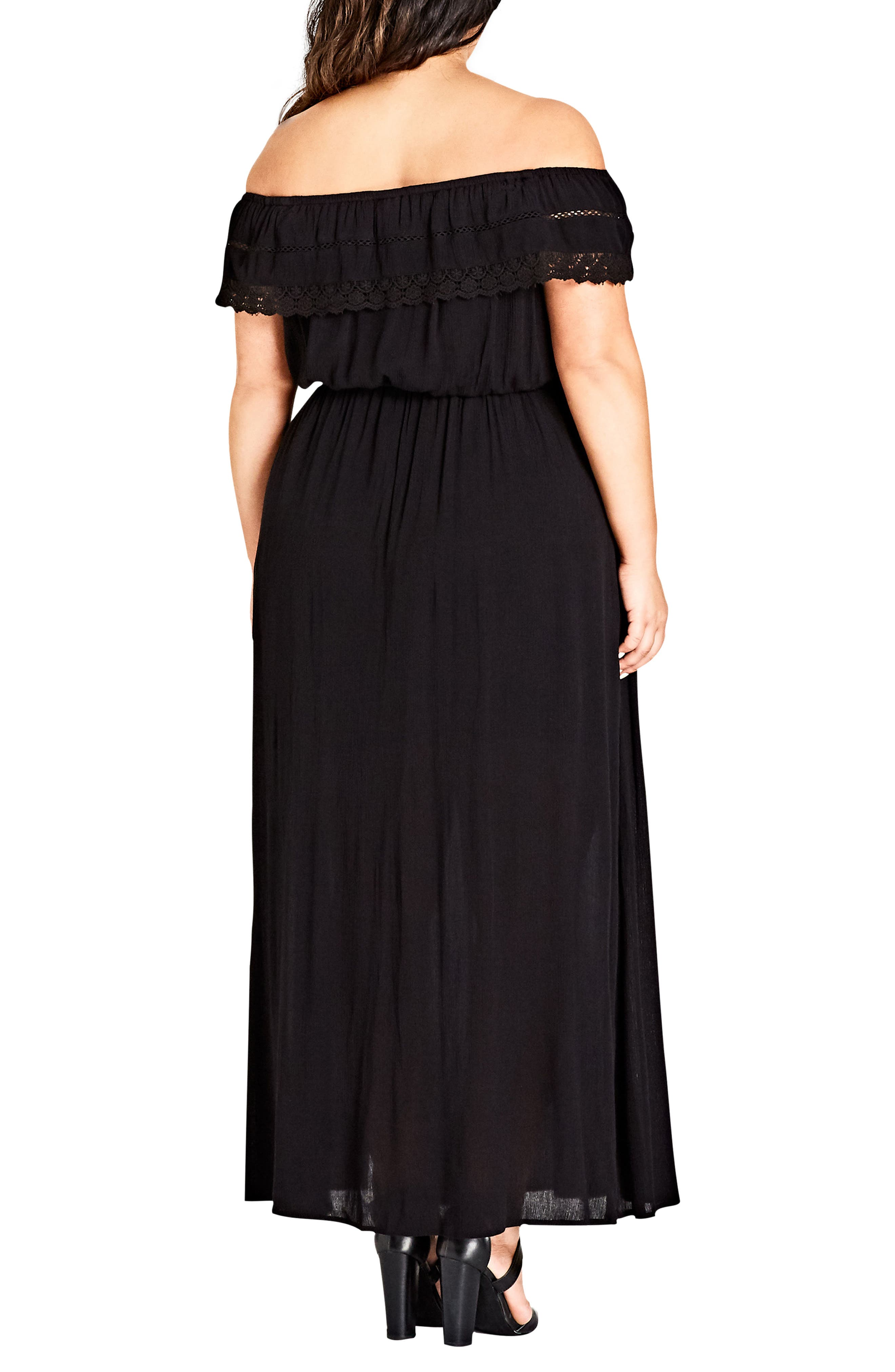 Off the Shoulder Maxi Dress,                             Alternate thumbnail 2, color,                             BLACK