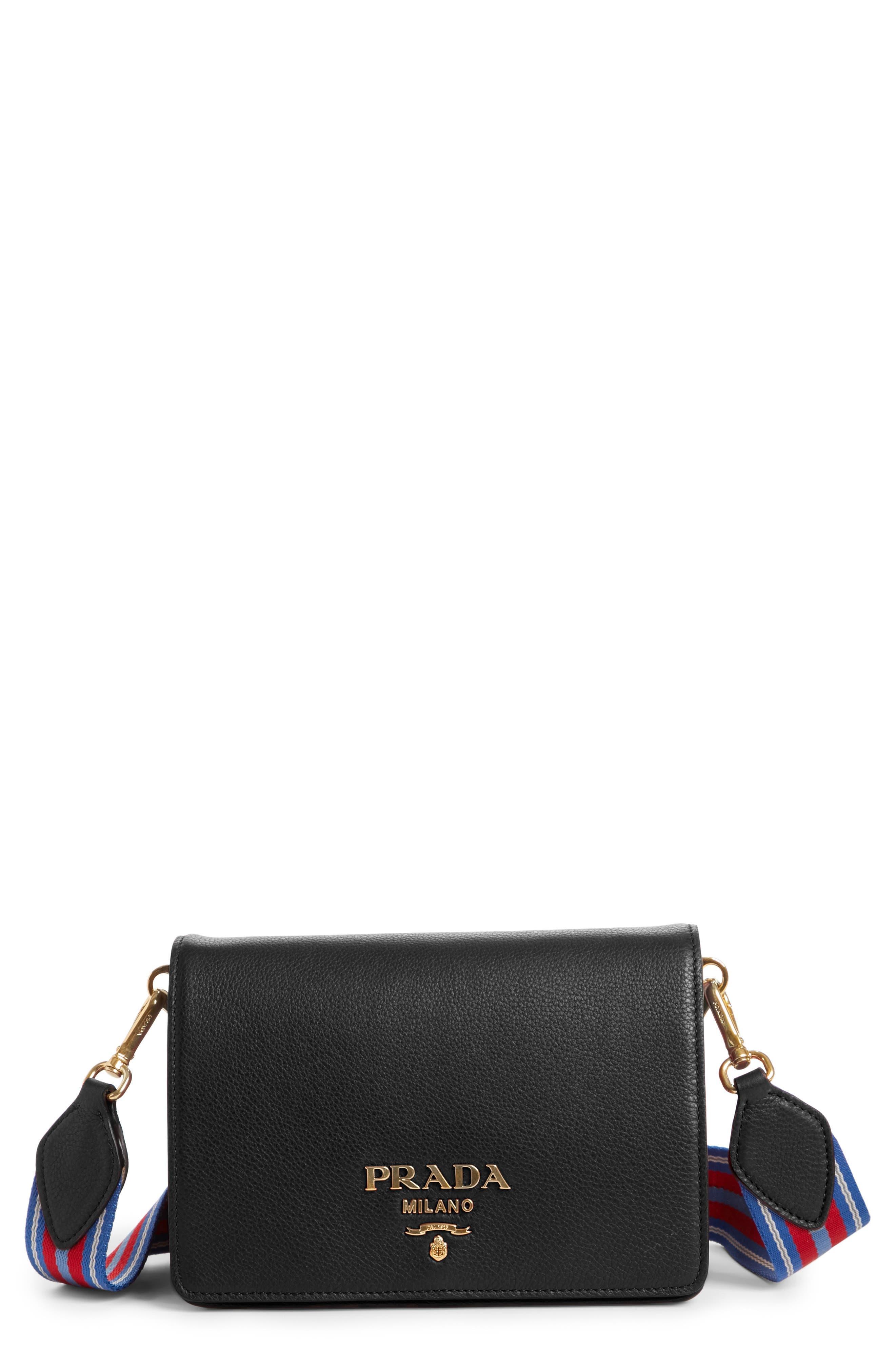 Vitello Daino Double Compartment Leather Shoulder Bag,                         Main,                         color, NERO
