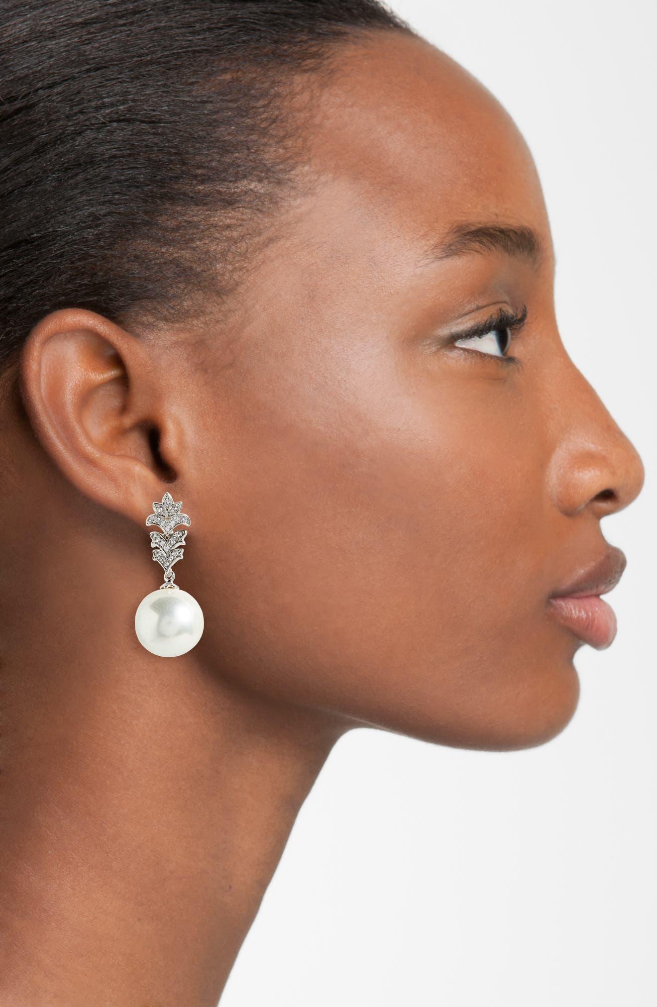 Imitation Pearl Drop Earrings,                             Alternate thumbnail 2, color,                             040
