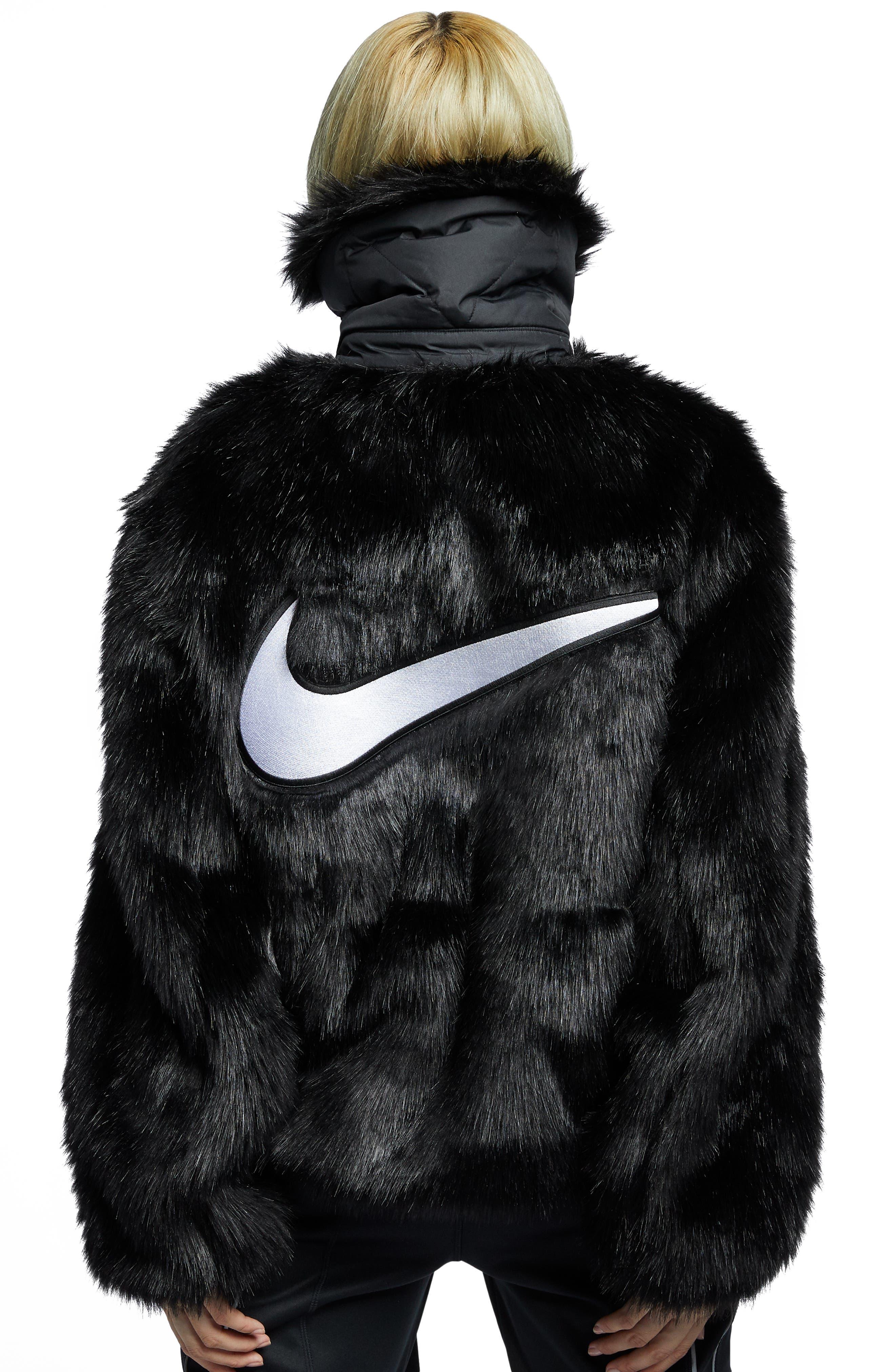 NIKE,                             x Ambush Women's Reversible Faux Fur Coat,                             Alternate thumbnail 3, color,                             010