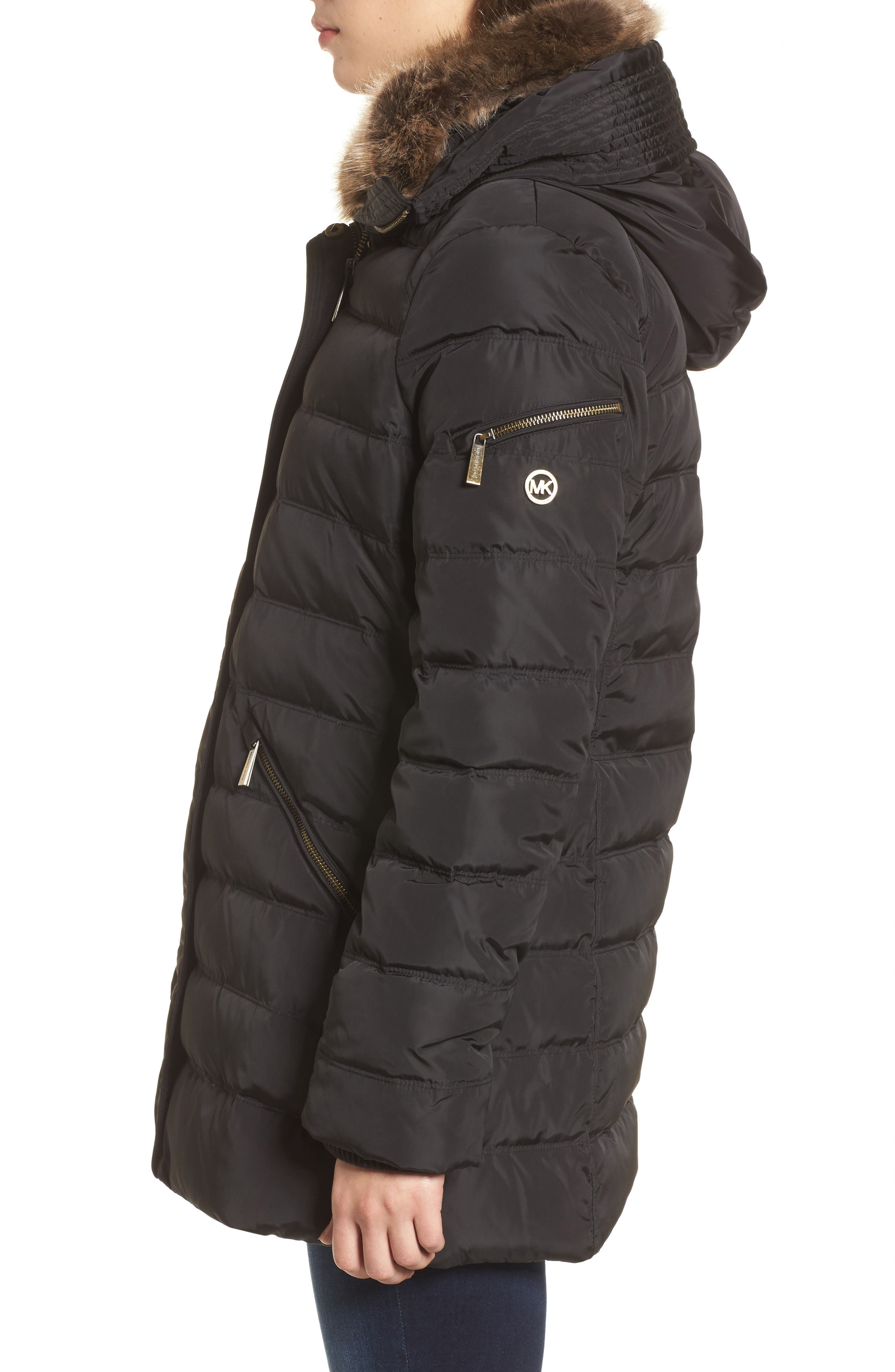 Hooded Coat with Faux Fur Trim,                             Alternate thumbnail 3, color,                             001