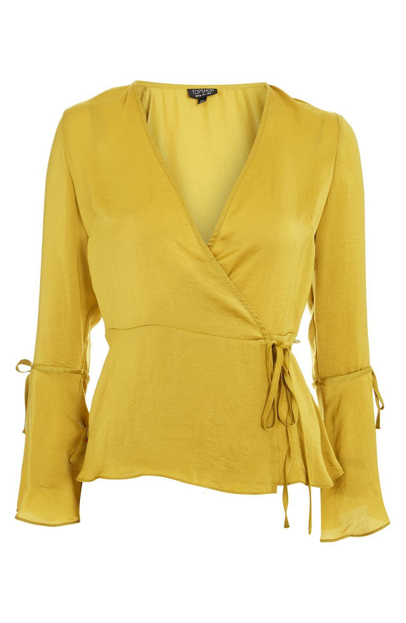 Hammered Satin Wrap Top,                             Alternate thumbnail 12, color,