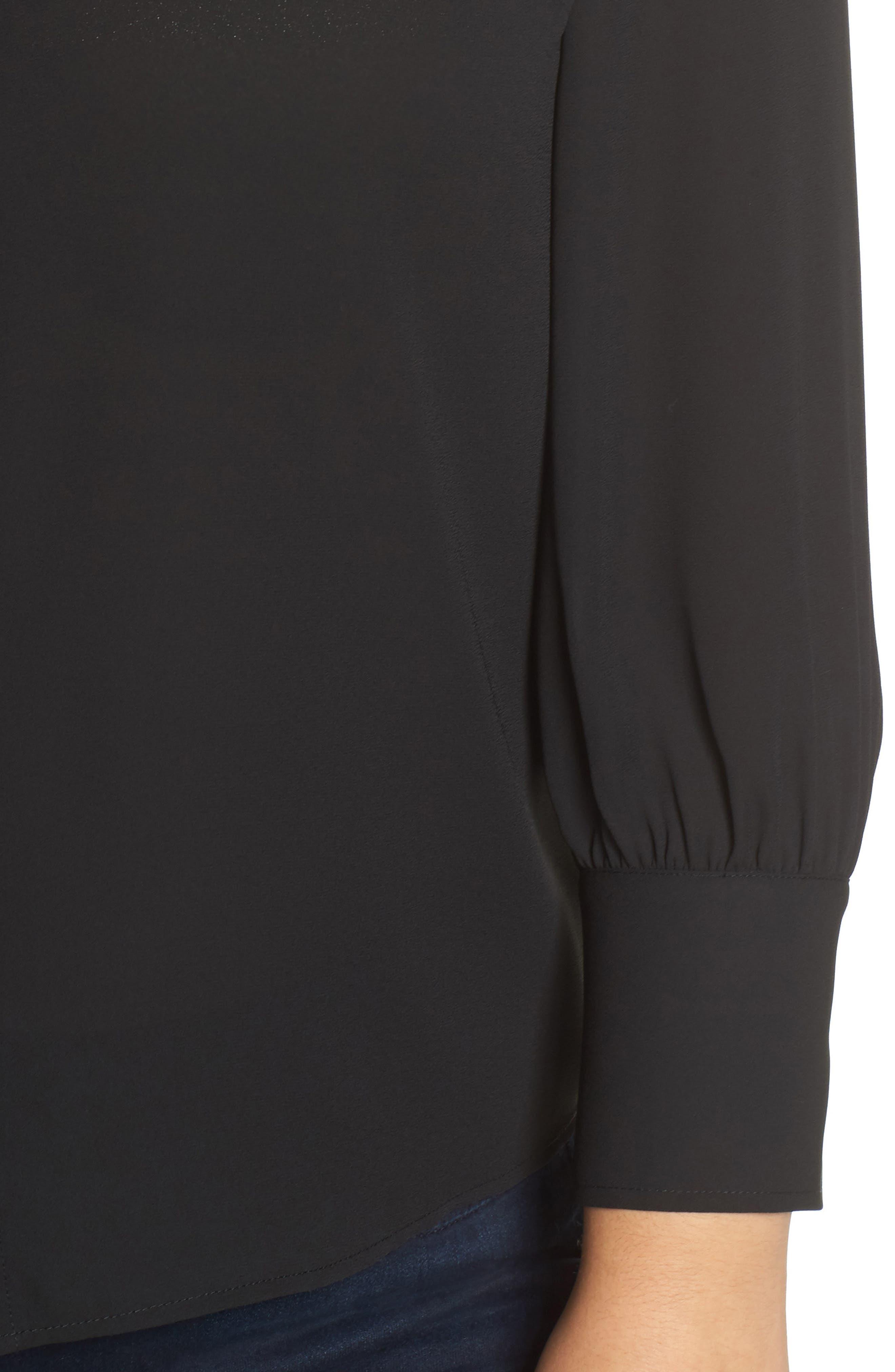 Placket Front Blouse,                             Alternate thumbnail 4, color,                             BLACK