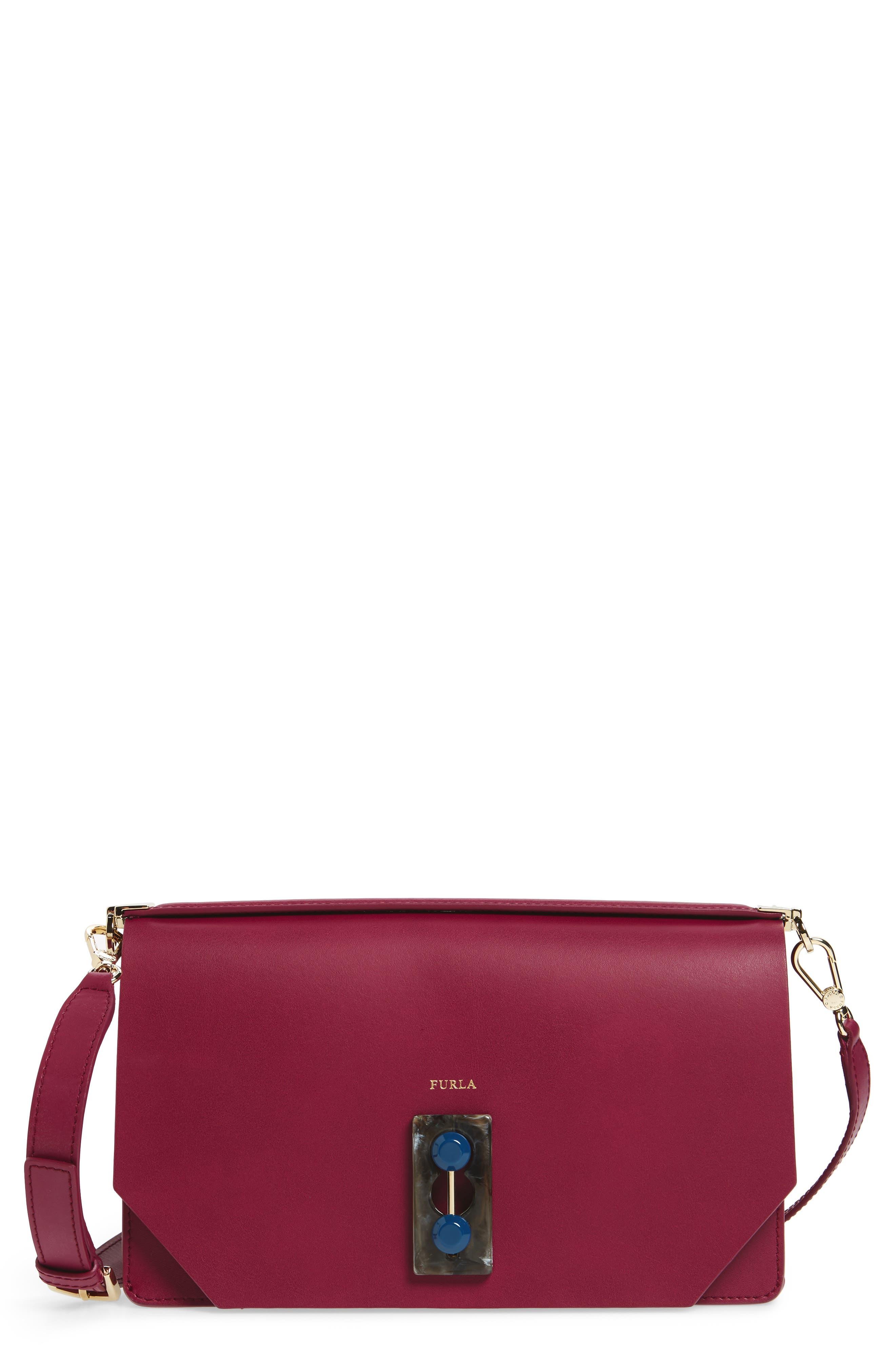 Snap Leather Shoulder Bag,                             Main thumbnail 1, color,                             609
