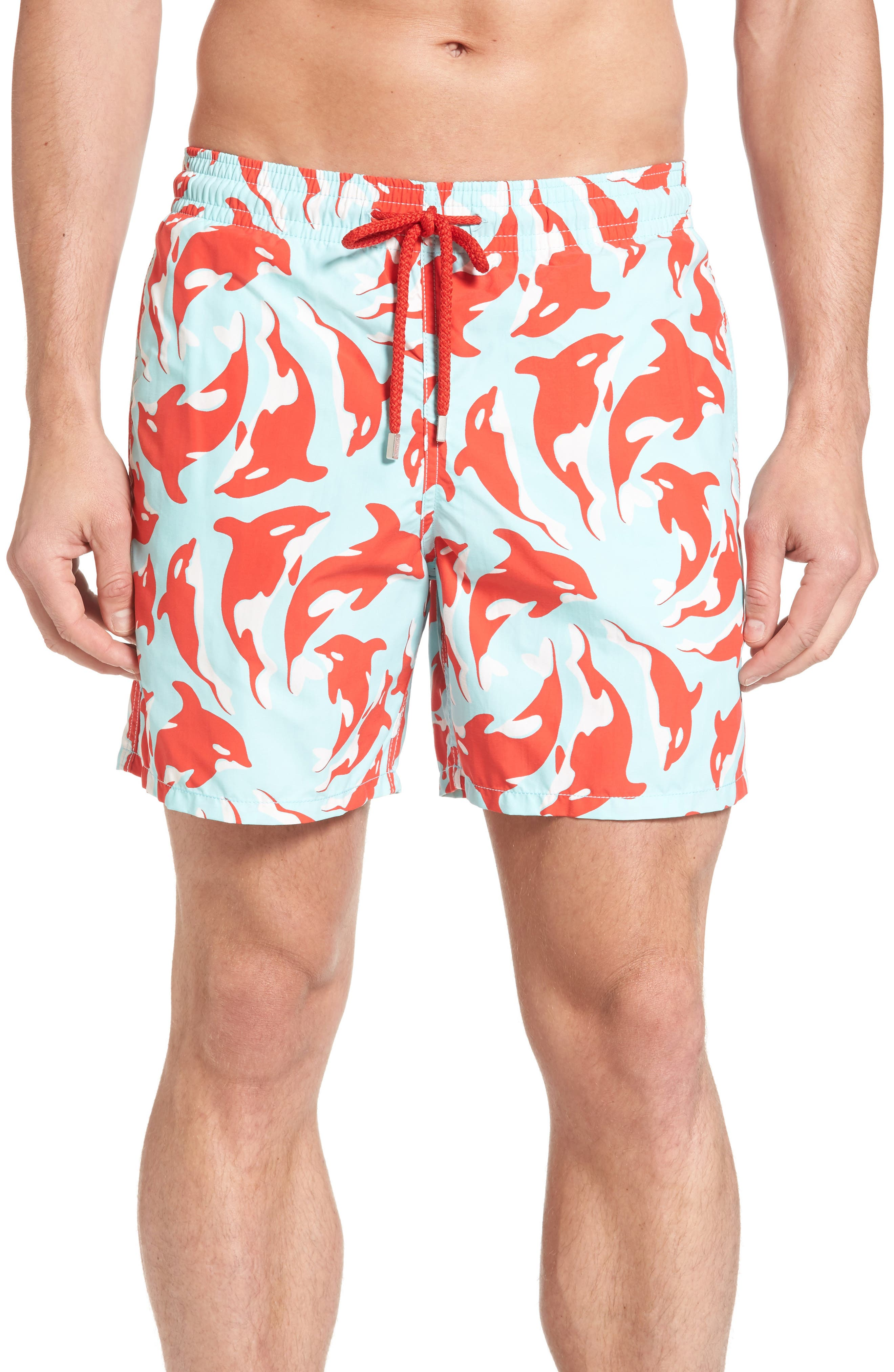 Moorea Galaks Print Swim Trunks,                         Main,                         color, FROSTED BLUE