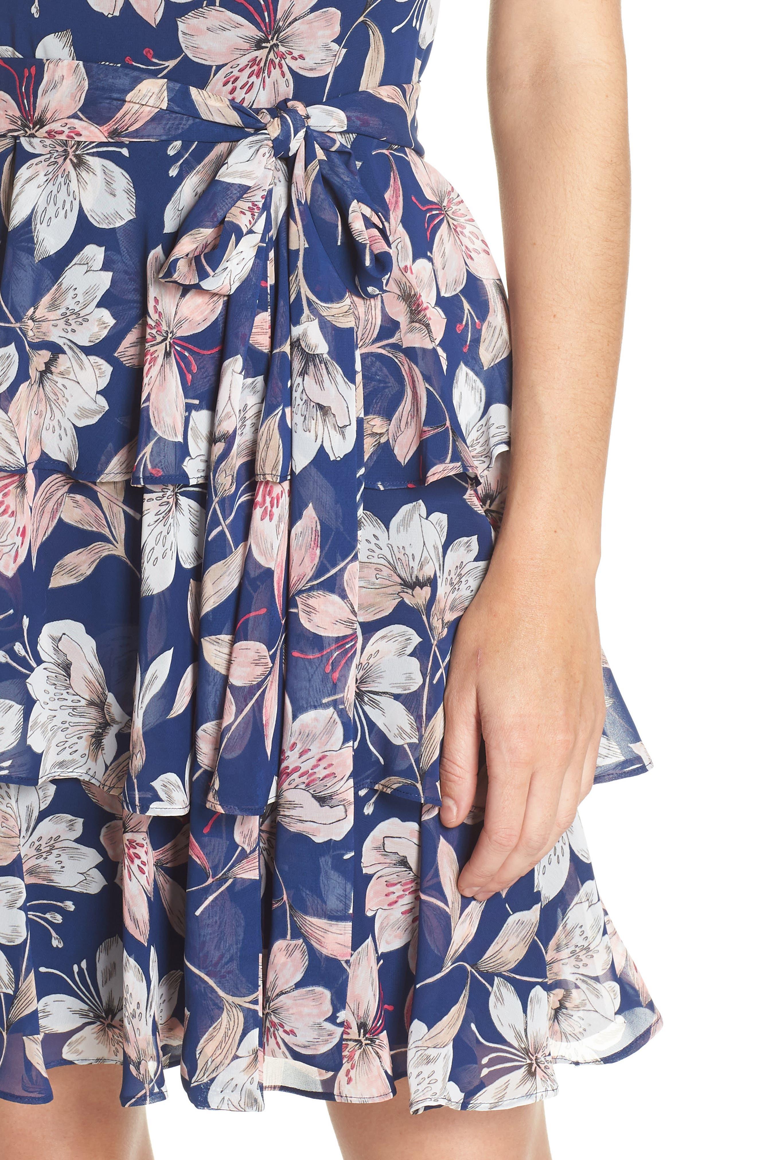 Tiered Chiffon Dress,                             Alternate thumbnail 4, color,                             410