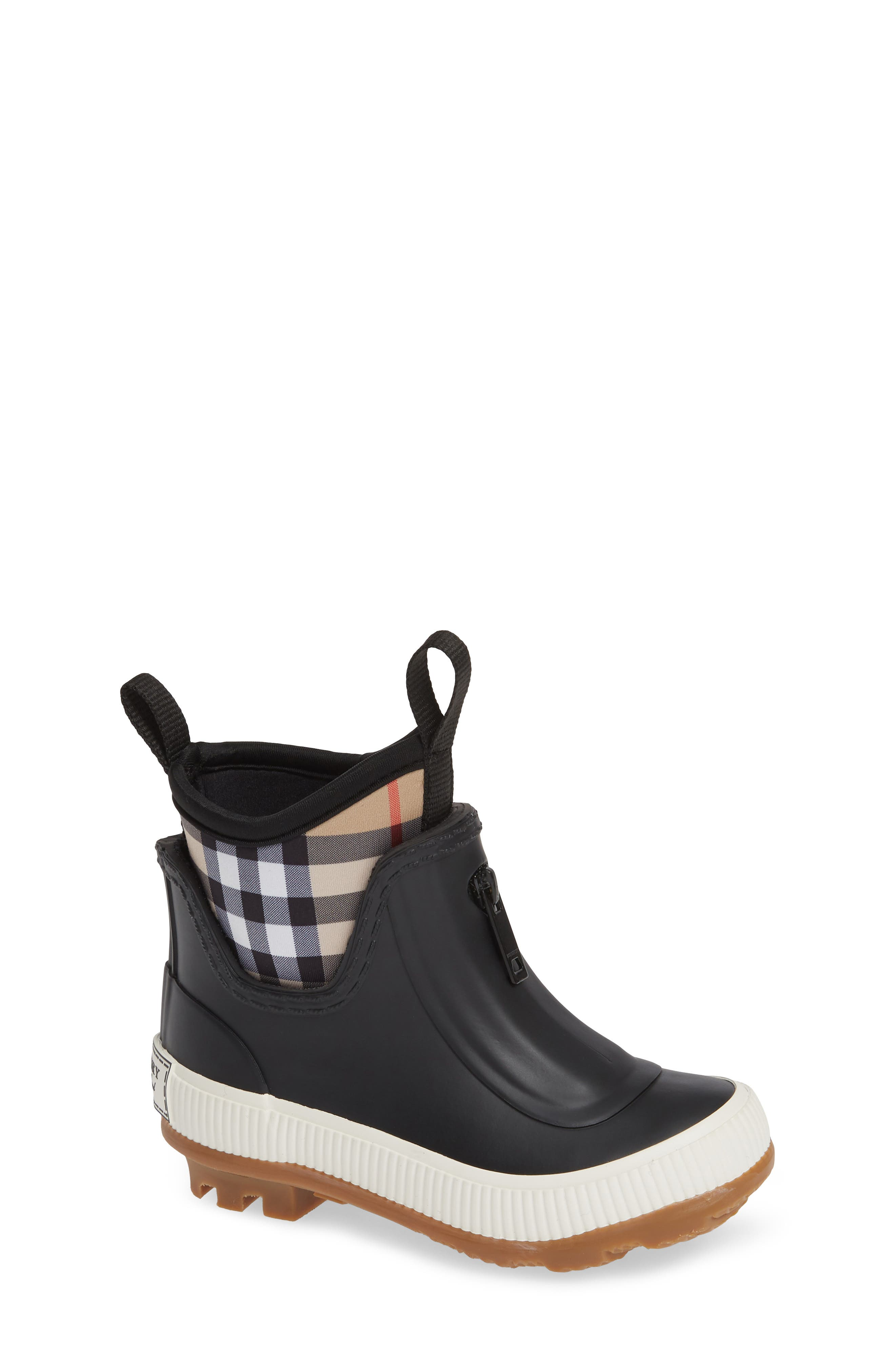 BURBERRY,                             Flinton Waterproof Rain Boot,                             Main thumbnail 1, color,                             BLACK