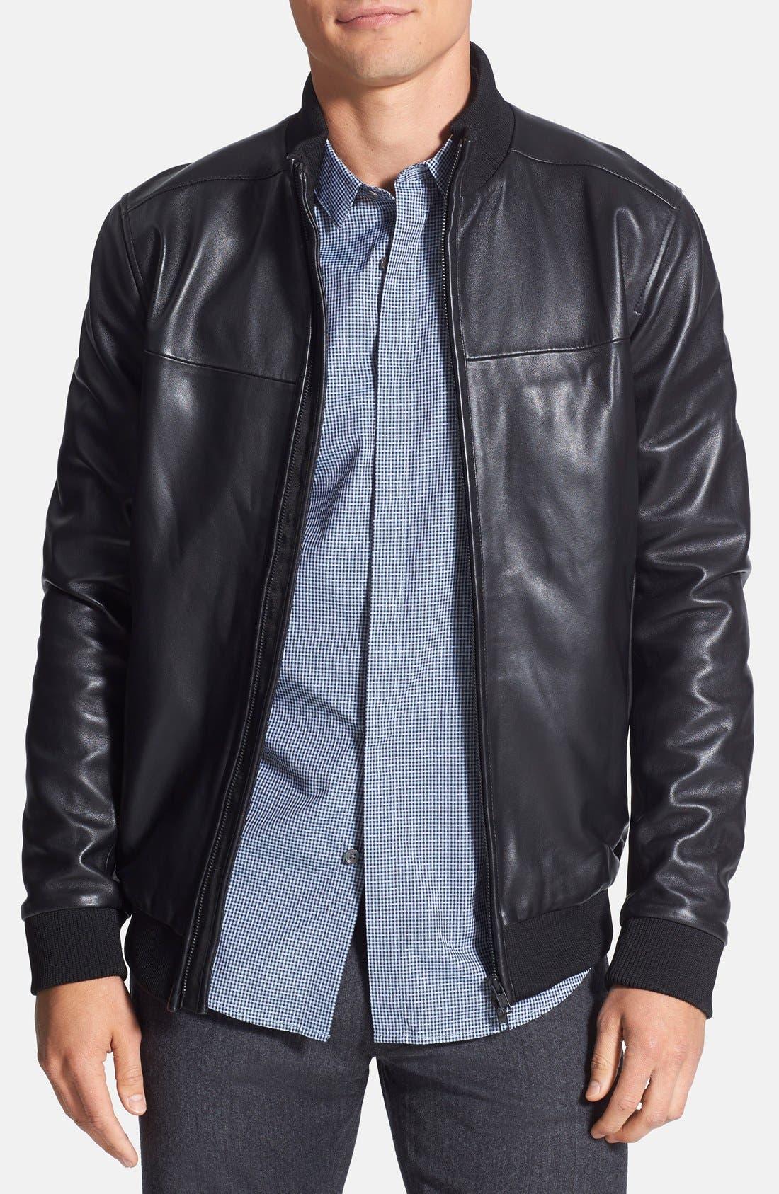 'Bane' Sheepskin Leather Jacket, Main, color, 001