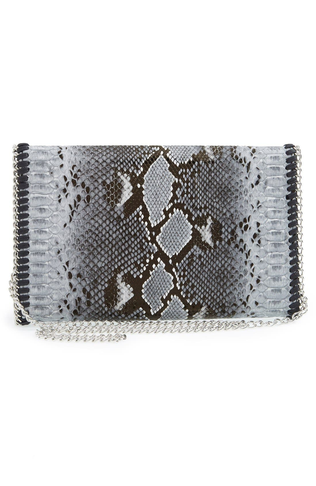 Snake Embossed Faux Leather Foldover Clutch,                             Alternate thumbnail 5, color,                             020