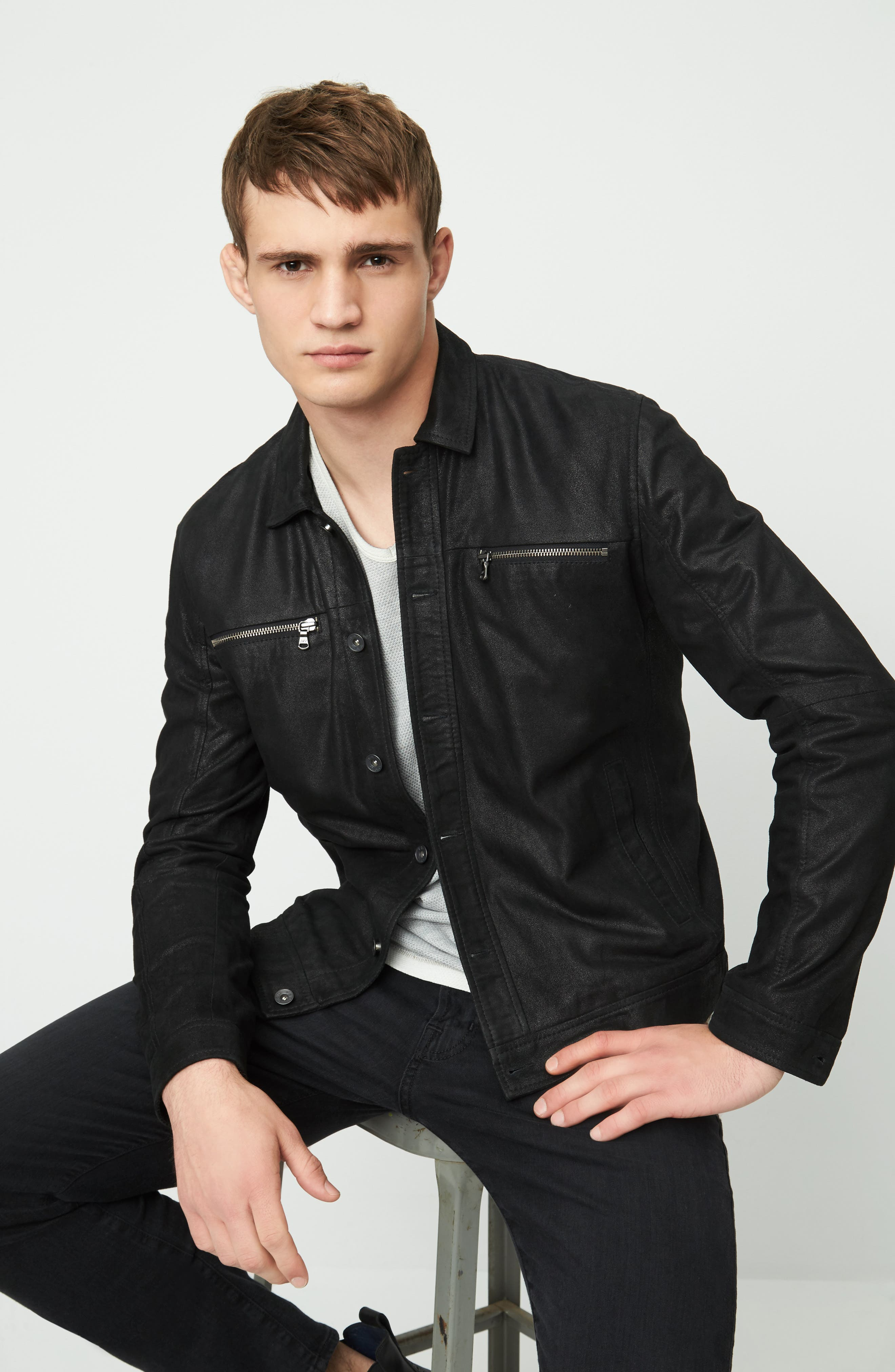 Leather Trucker Jacket,                             Alternate thumbnail 7, color,                             001