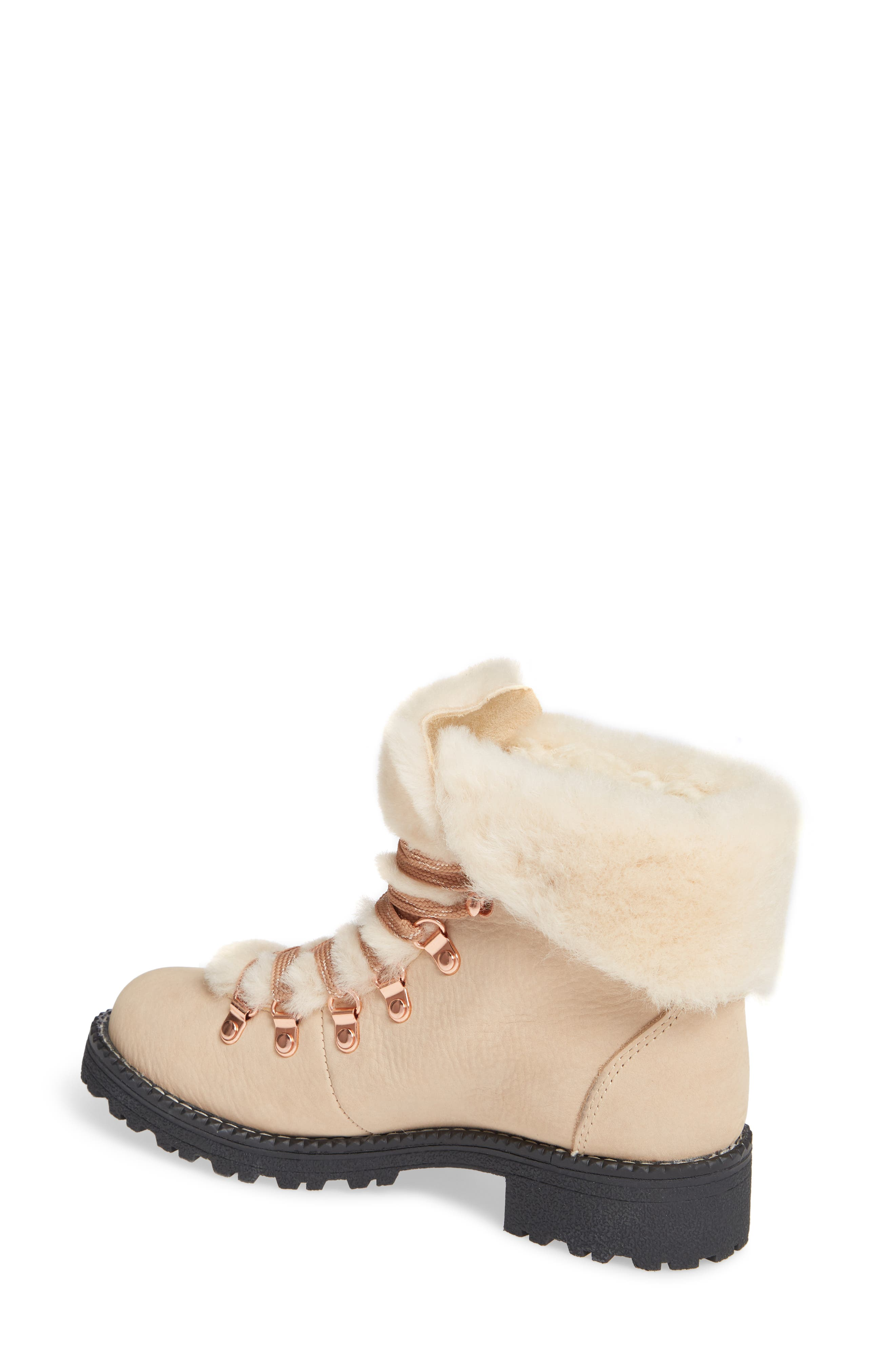 Nordic Genuine Shearling Cuff Winter Boot,                             Alternate thumbnail 2, color,                             DUNE LEATHER