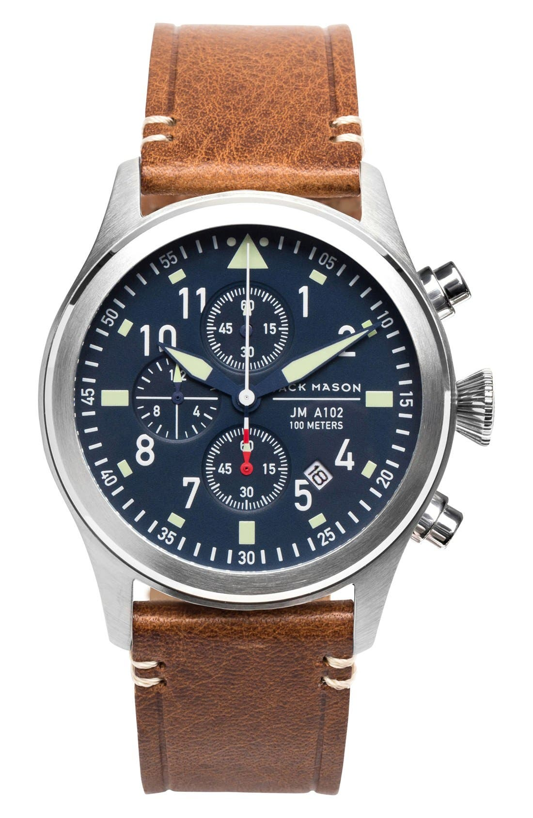 Chronograph Leather Strap Watch, 42mm,                             Main thumbnail 1, color,                             NAVY/ SILVER/ SADDLE