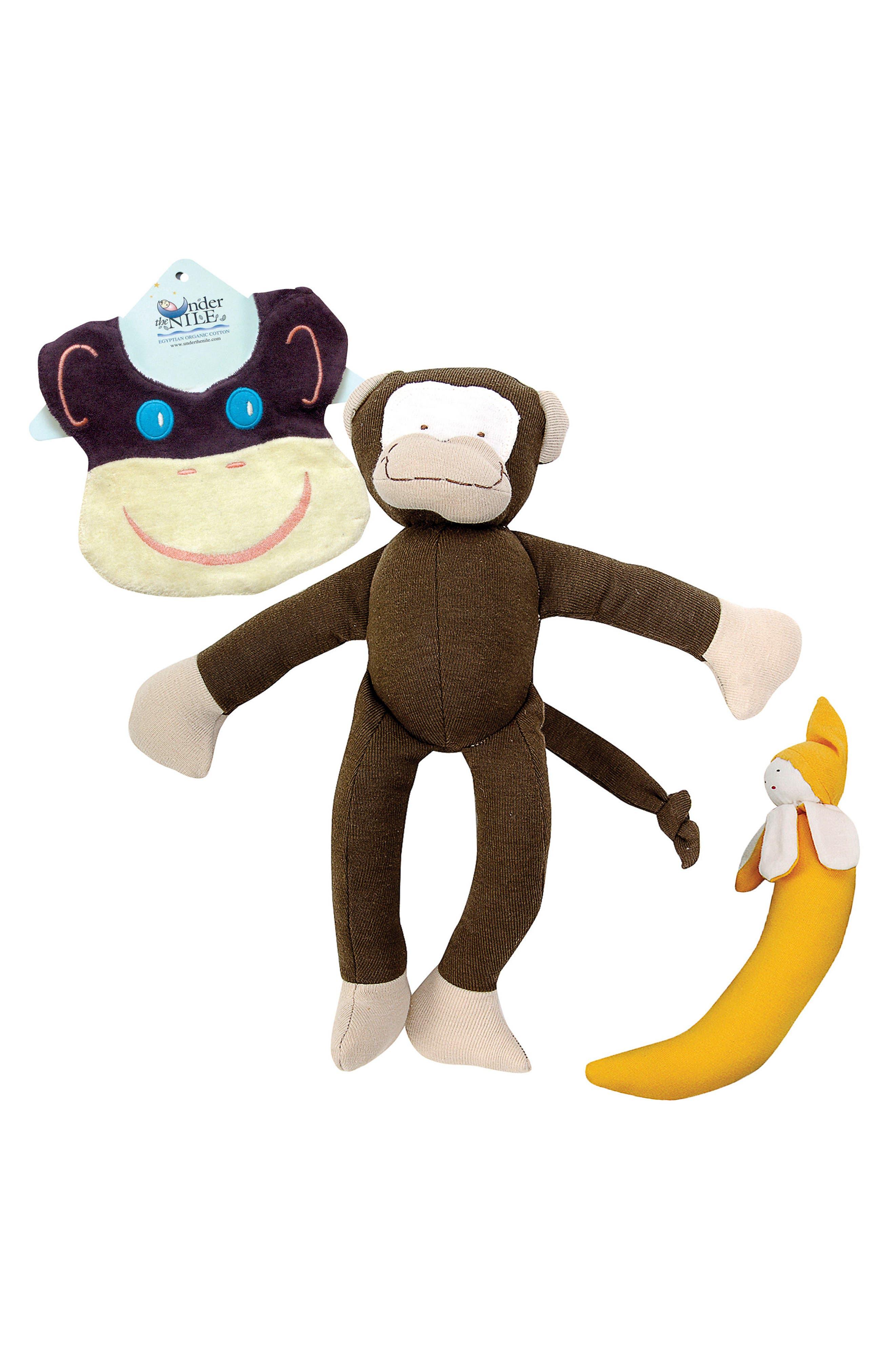 3-Piece Monkey Bib, Stuffed Animal and Stuffed Banana Set,                             Main thumbnail 1, color,                             200