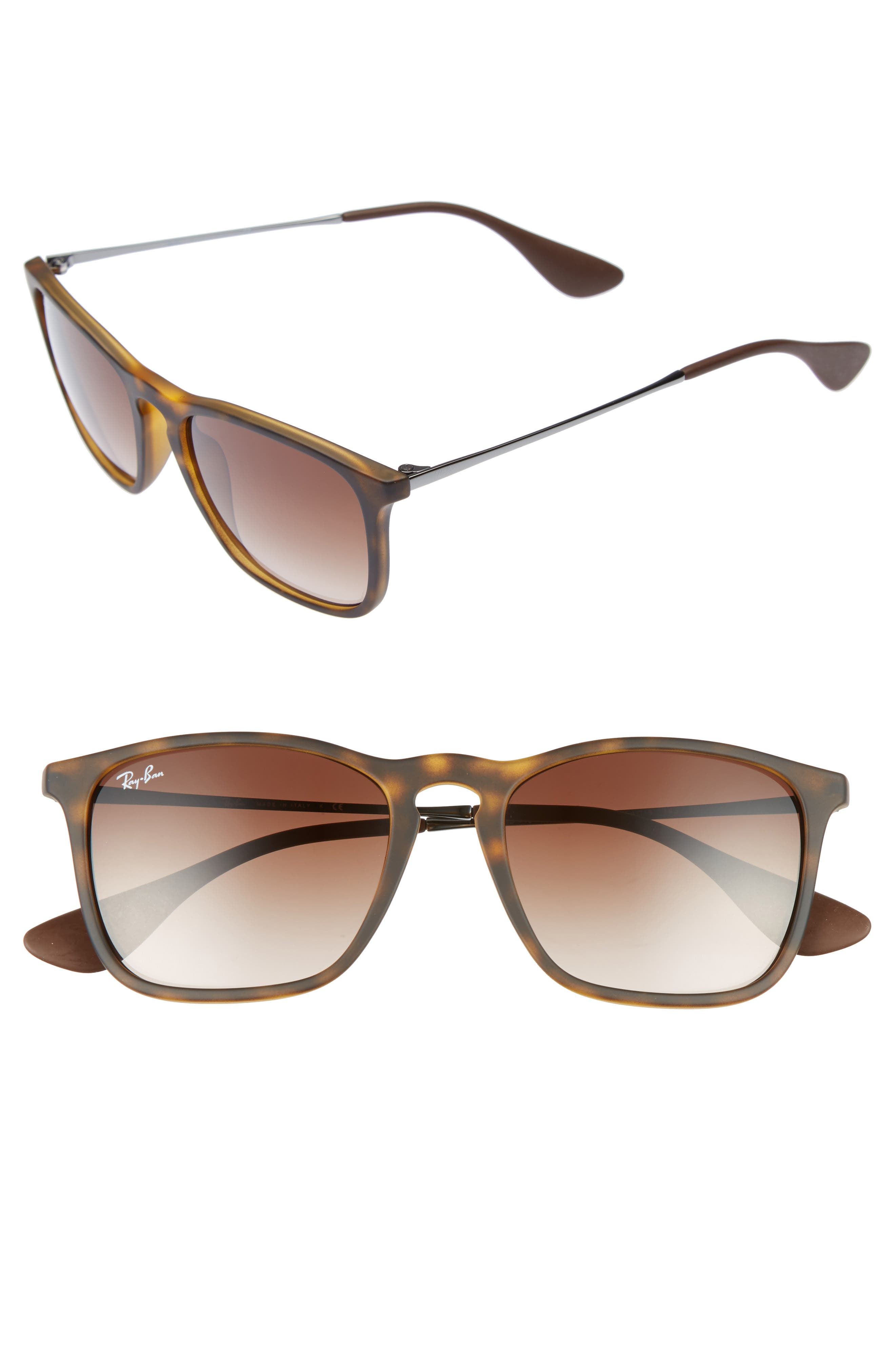 Youngster 54mm Square Keyhole Sunglasses,                             Main thumbnail 1, color,                             BROWN