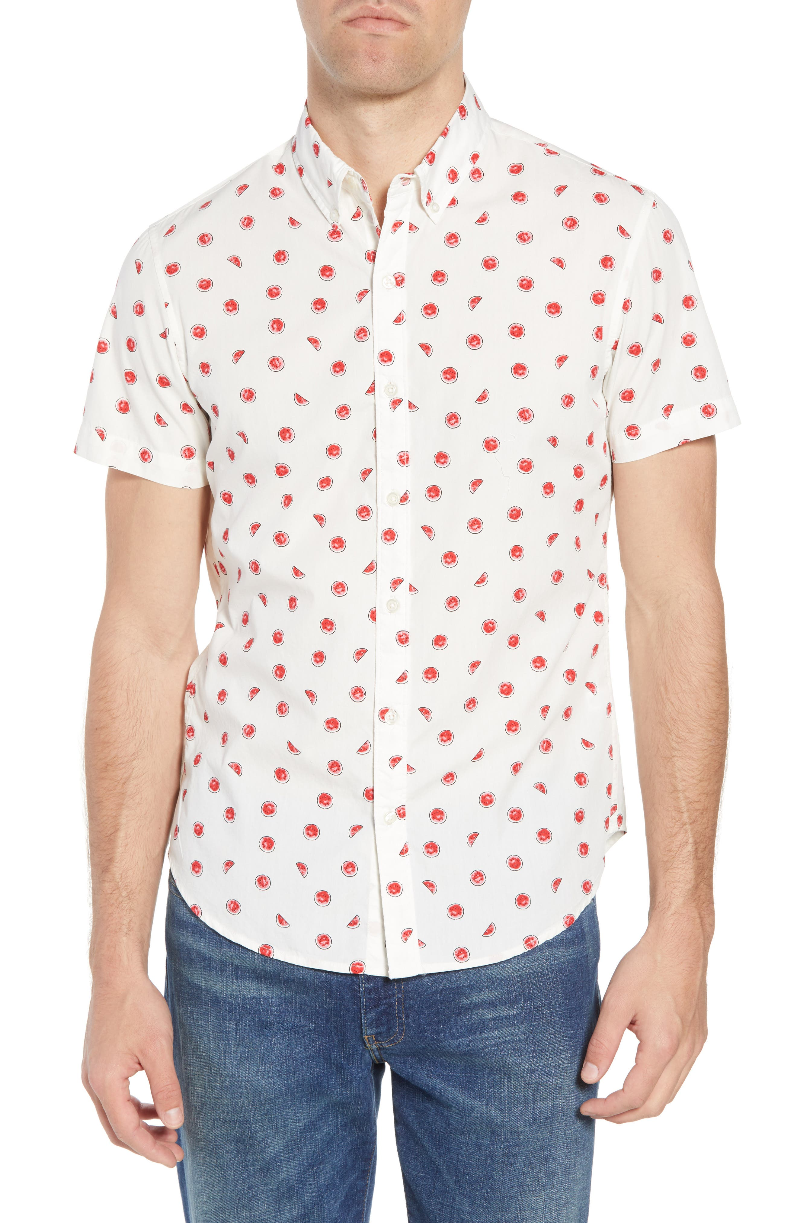 Slim Fit Watermelon Print Sport Shirt,                             Main thumbnail 1, color,                             100