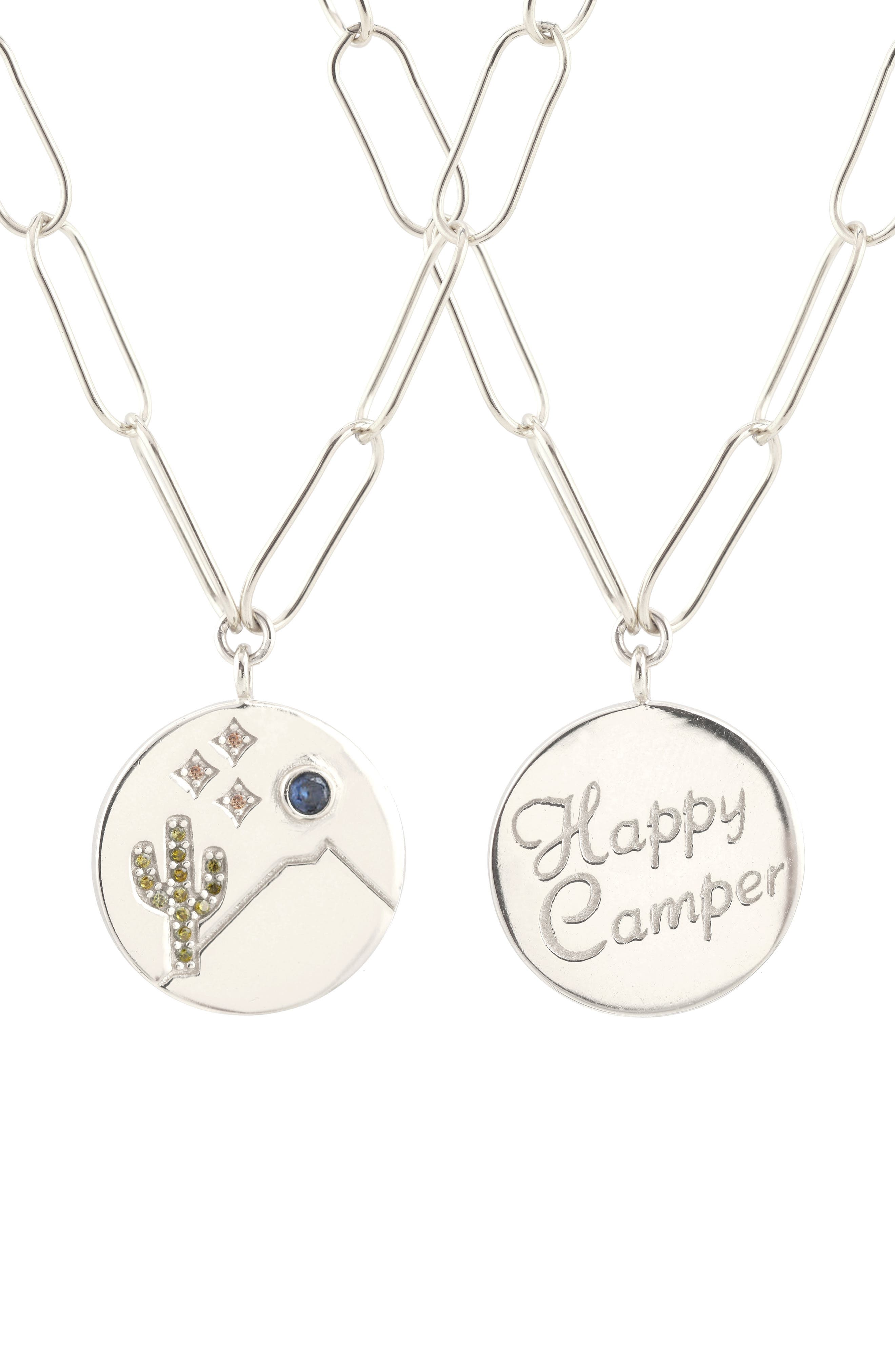 KRIS NATIONS,                             Double-Sided Happy Camper Pendant Necklace,                             Alternate thumbnail 2, color,                             SILVER