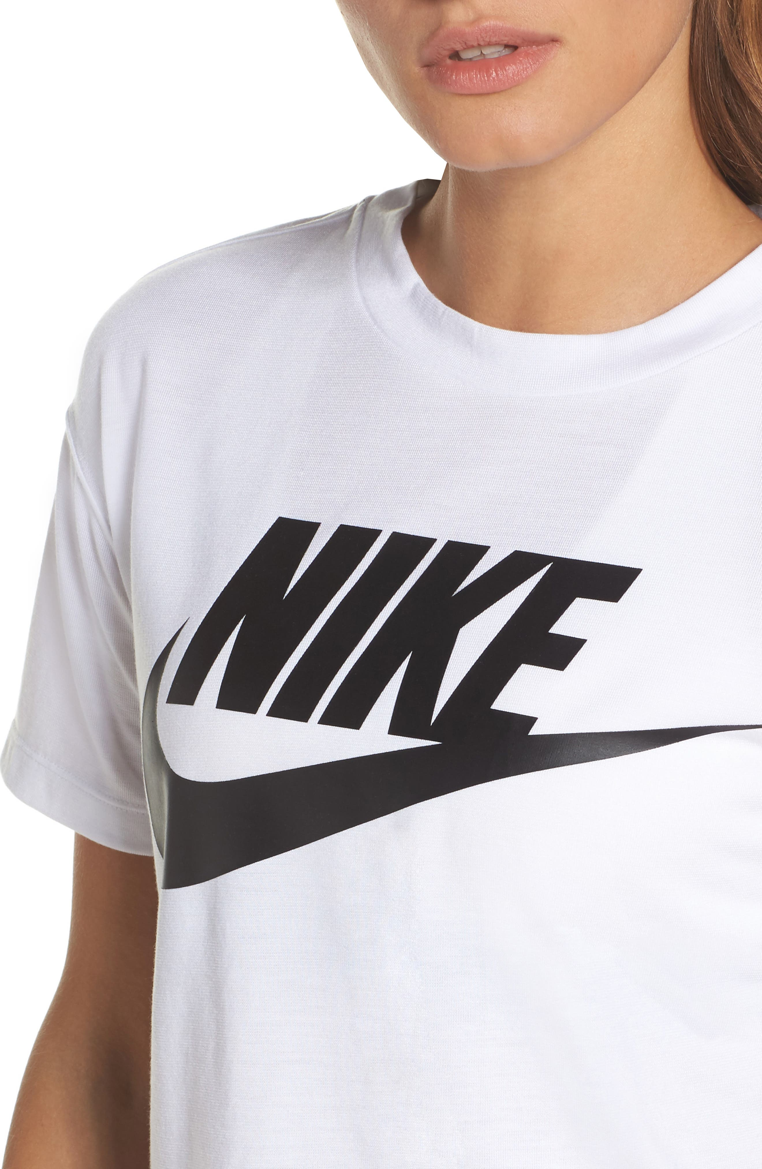Sportswear Crop Top,                             Alternate thumbnail 4, color,                             WHITE/ BLACK