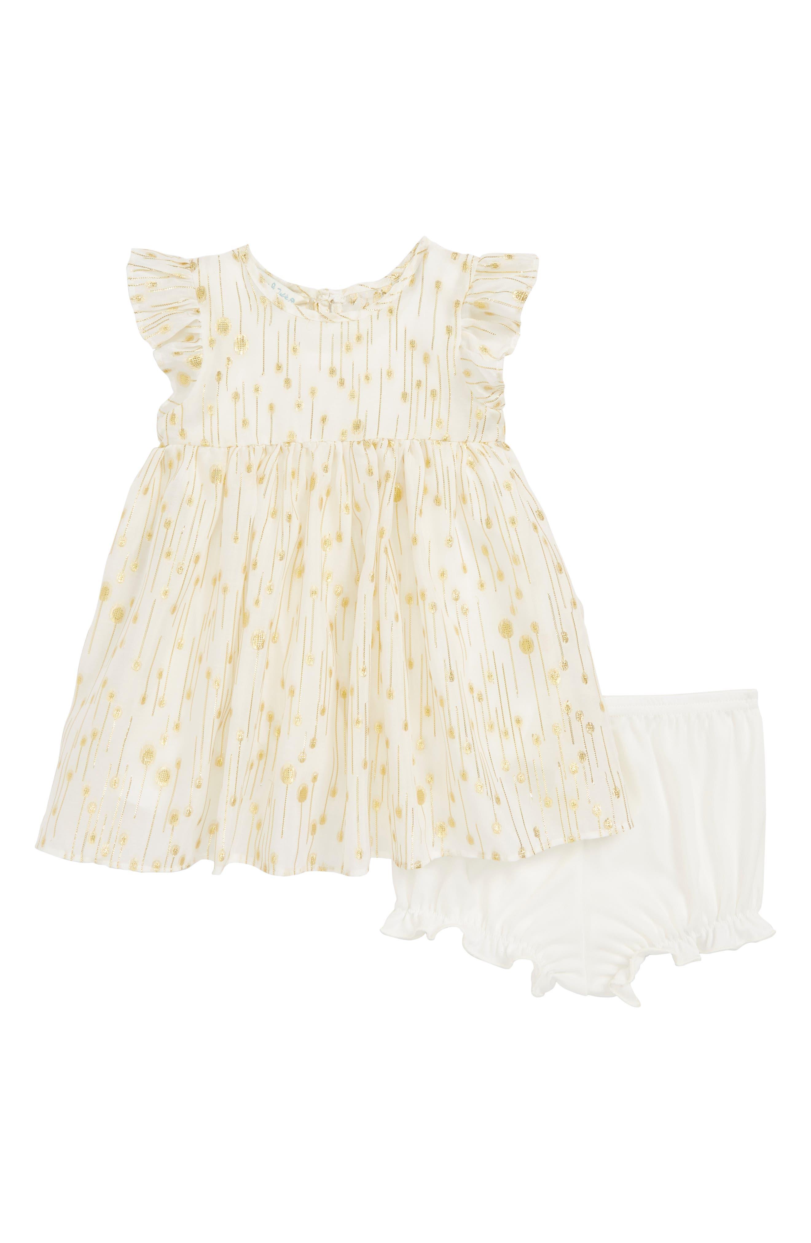 Flutter Sleeve Dress, Main, color, IVORY / GOLD