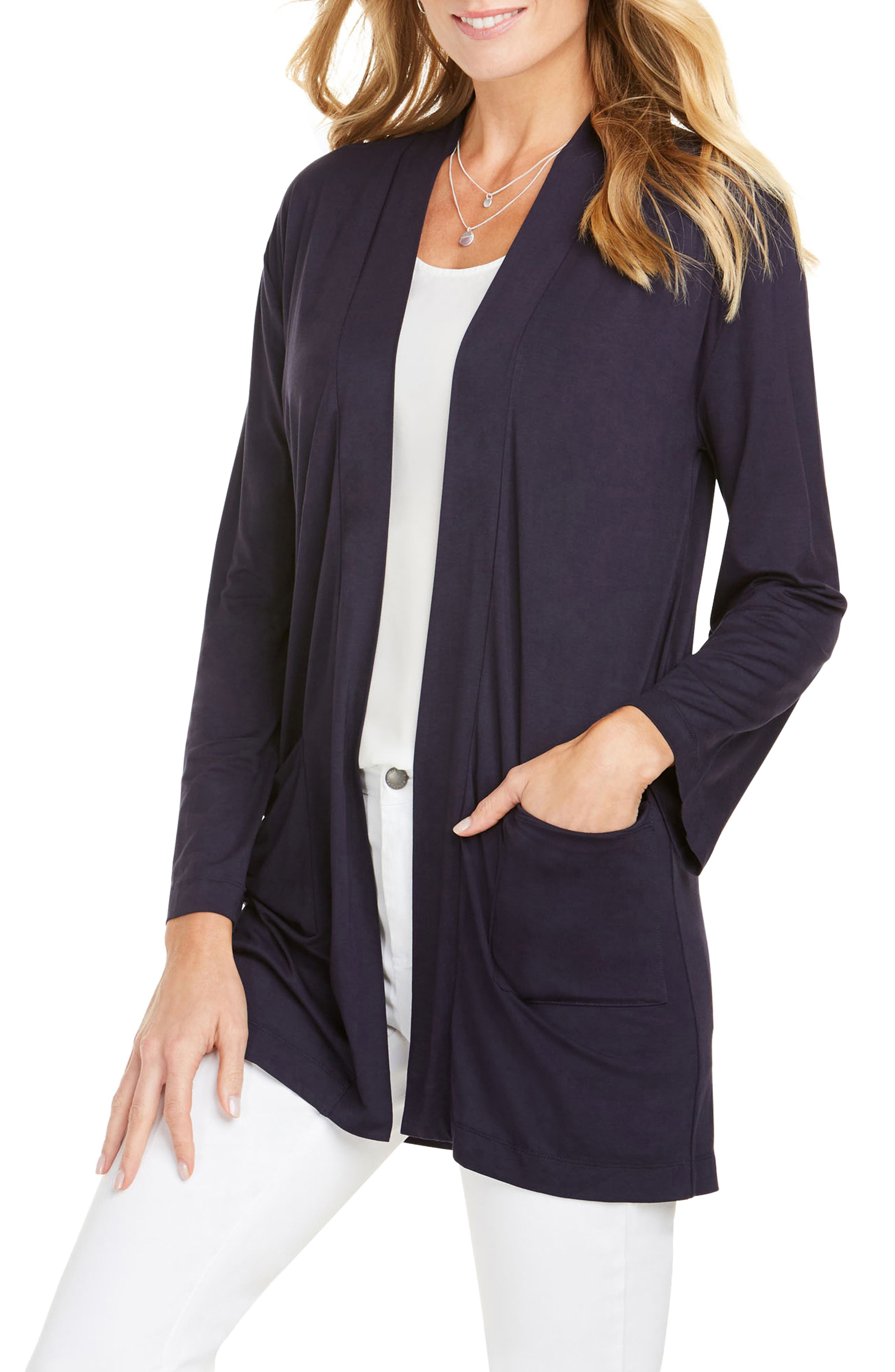 Foxcroft Lessie Jersey Knit Open Front Cardigan, Blue