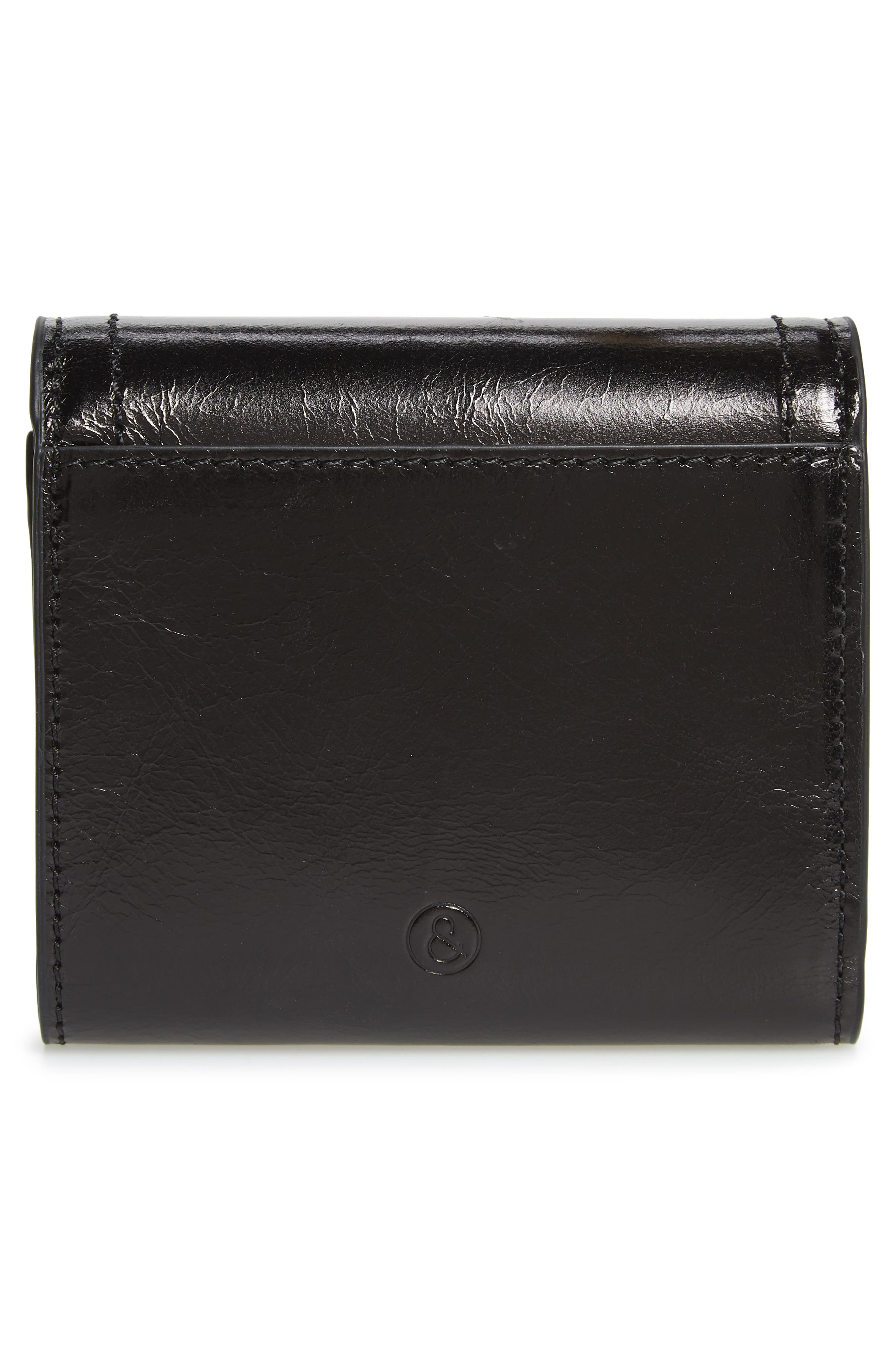 Tracy Leather Trifold Wallet,                             Alternate thumbnail 4, color,                             BLACK