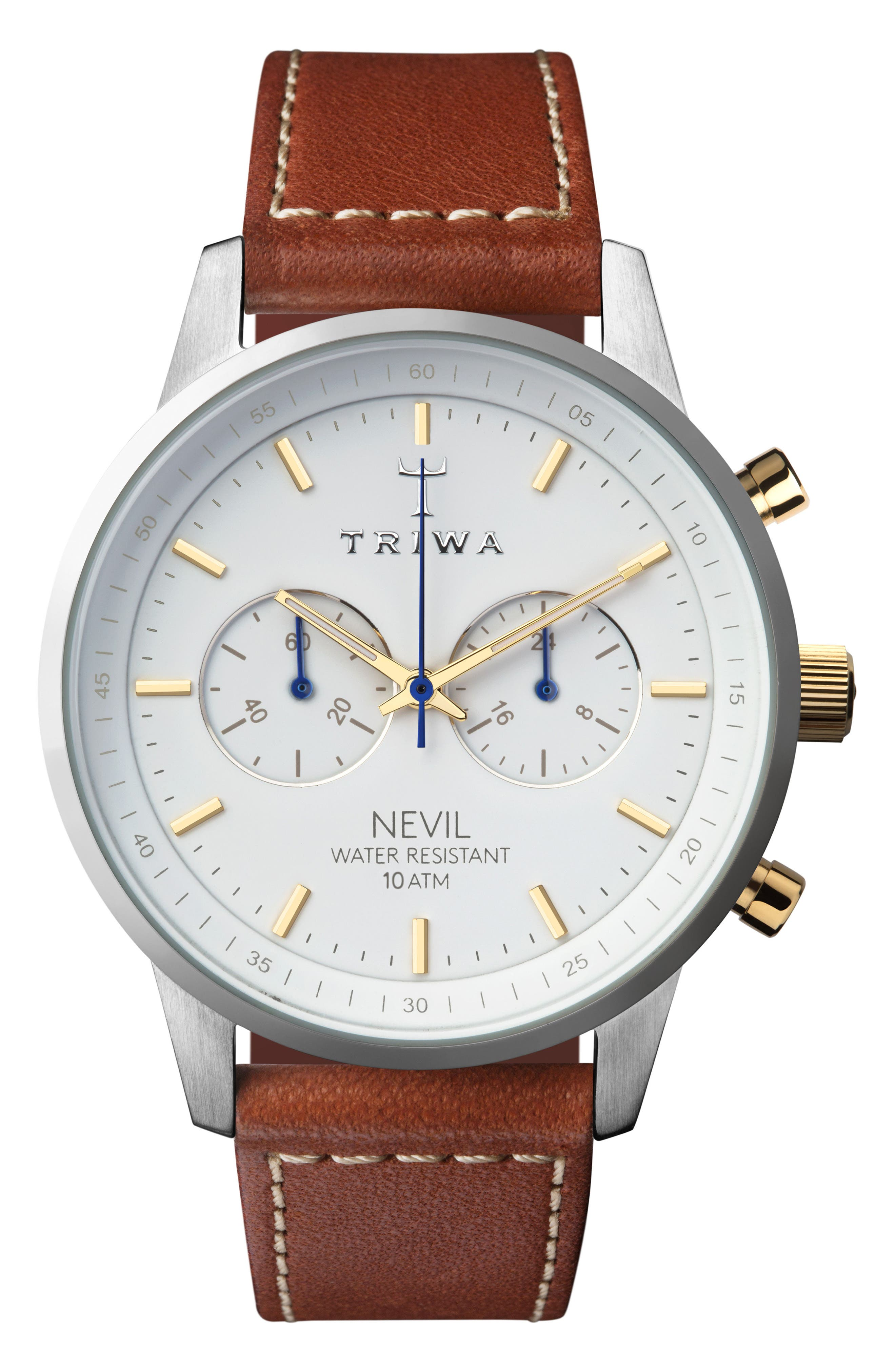 Snow Nevil Chronograph Leather Strap Watch, 42mm,                             Main thumbnail 1, color,                             BROWN/ WHITE/ SILVER