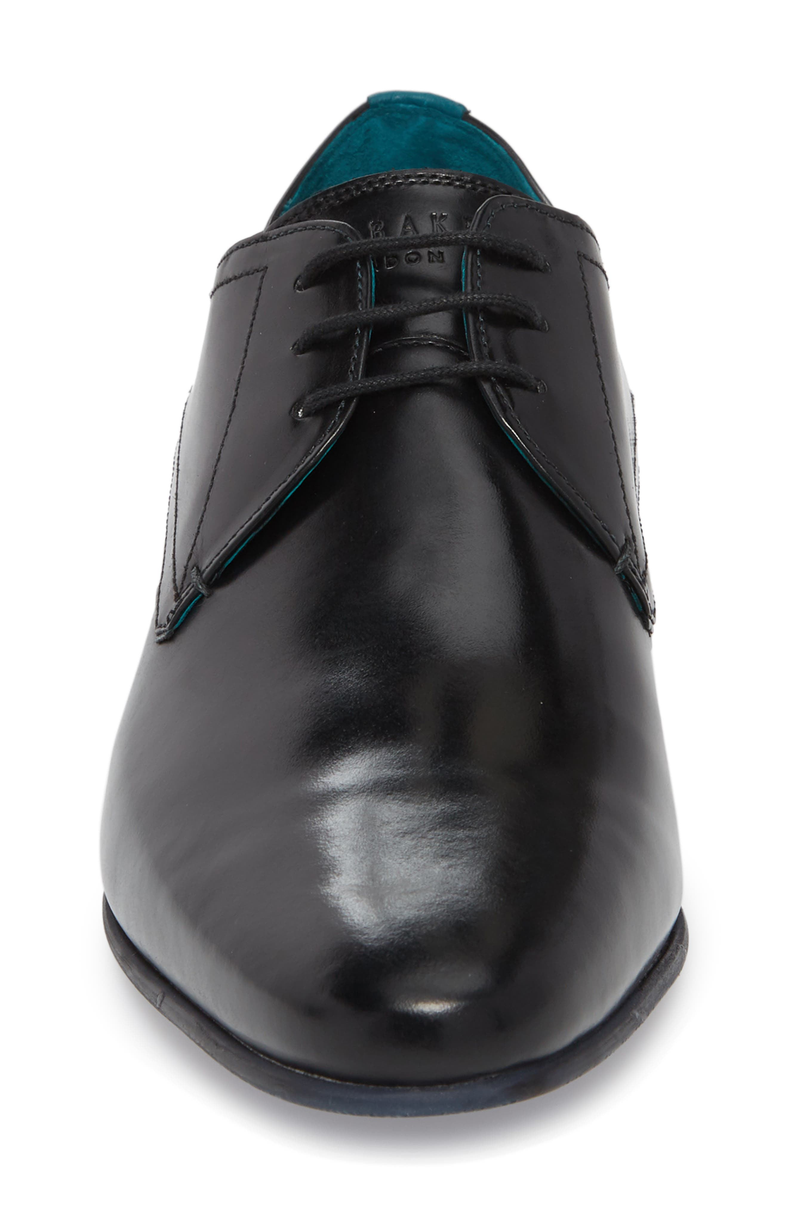 Bhartli Plain Toe Derby,                             Alternate thumbnail 4, color,                             BLACK LEATHER