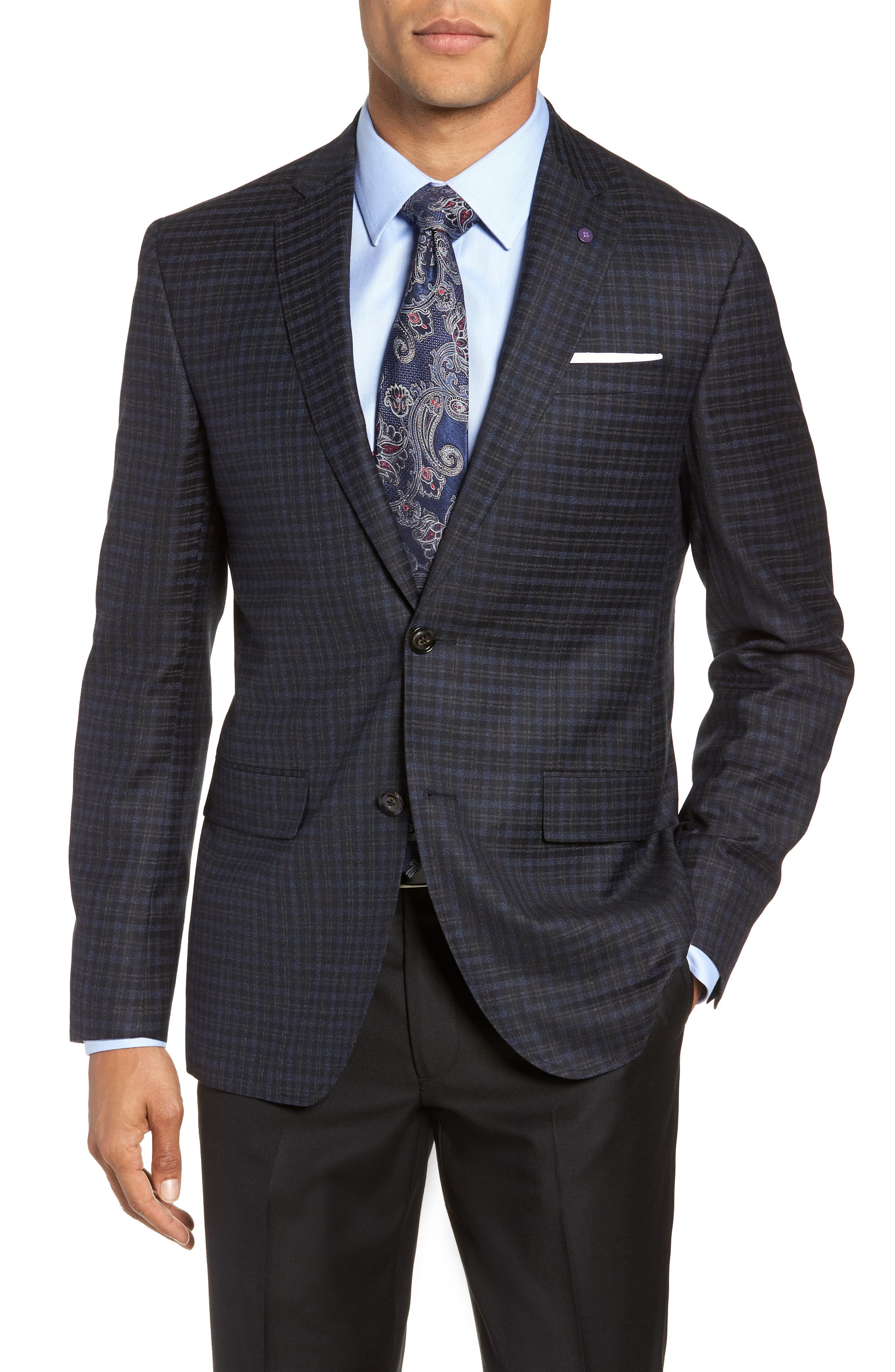 Jay 2B Trim Fit Plaid Wool Sport Coat,                         Main,                         color, BLUE PLAID