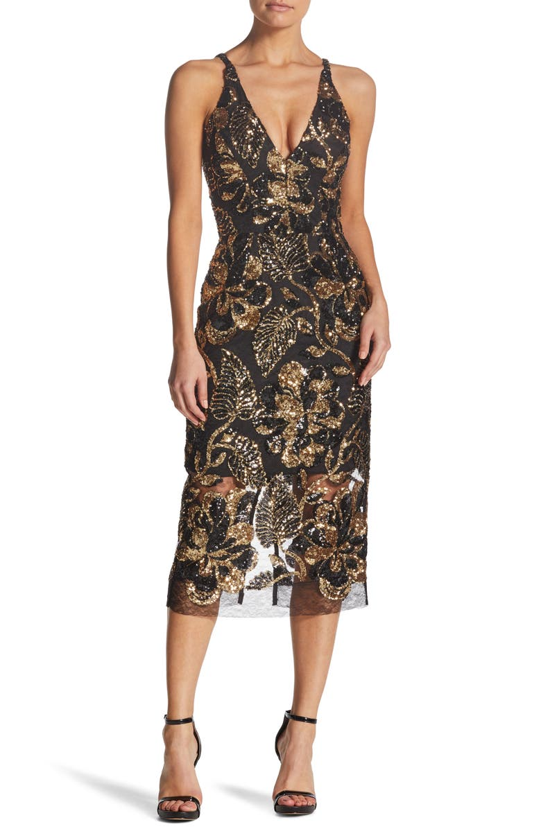 Margo Plunge Neck Sequin Midi Dress,                         Main,                         color, BLACK/ GOLD