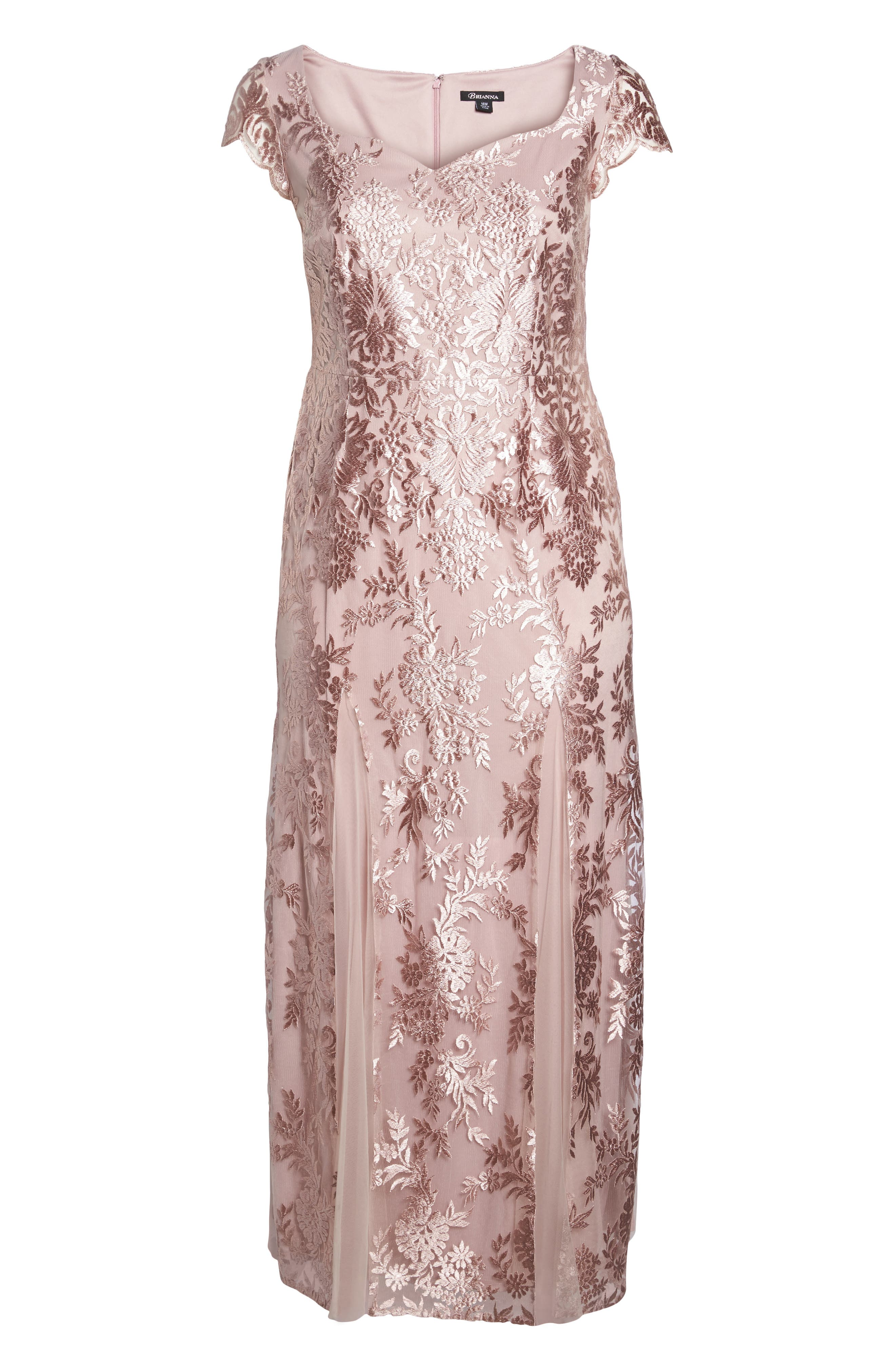 Lace A-Line Gown,                             Alternate thumbnail 6, color,                             DUSTY PINK