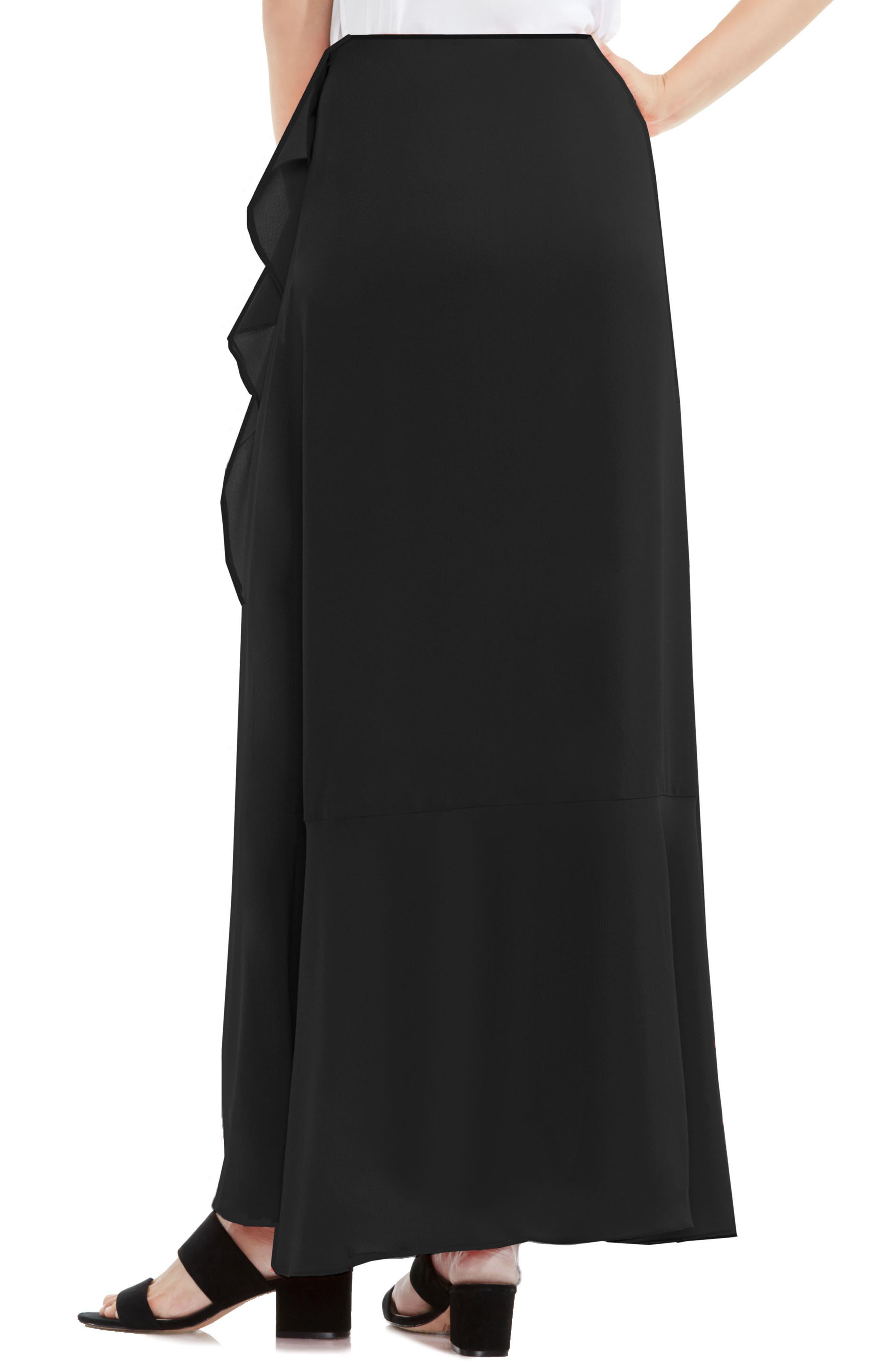 VINCE CAMUTO,                             Faux Wrap Ruffled Maxi Skirt,                             Alternate thumbnail 2, color,                             006