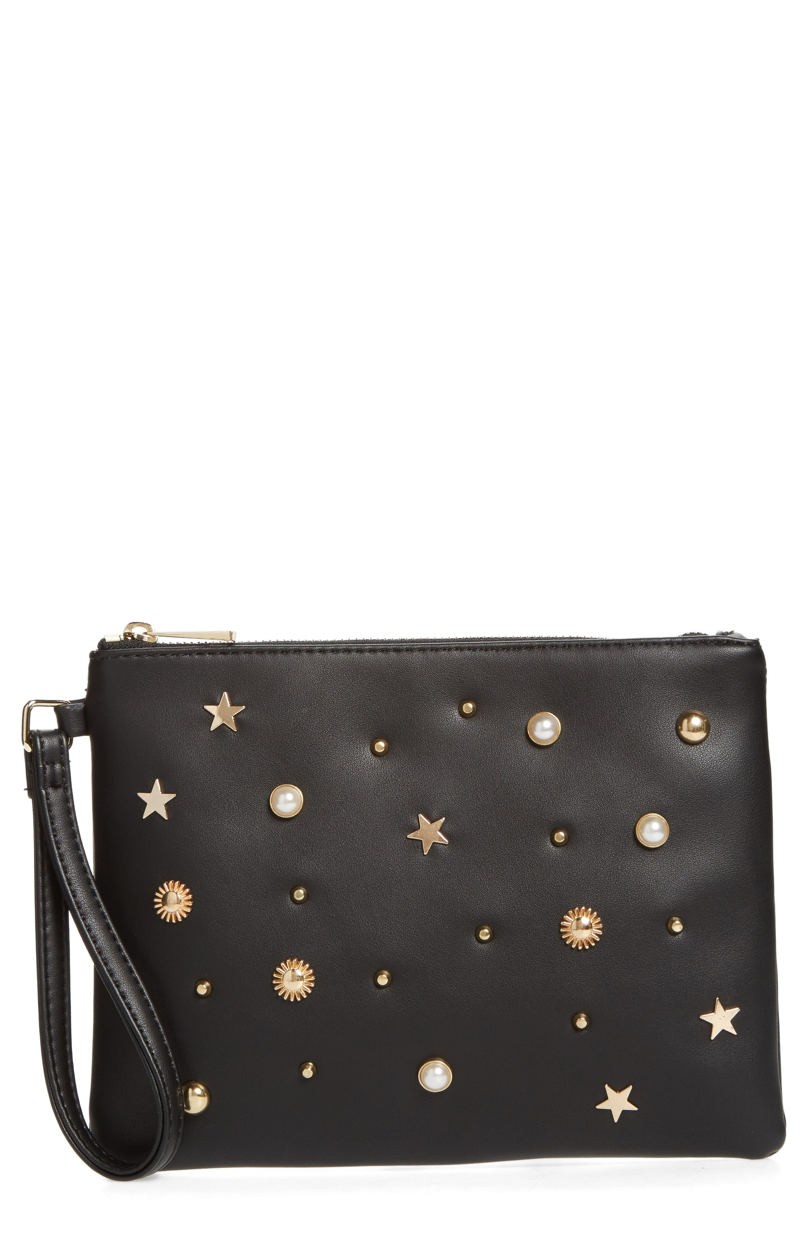 Street Leel Star Stud Faux Leather Clutch,                             Main thumbnail 1, color,                             001