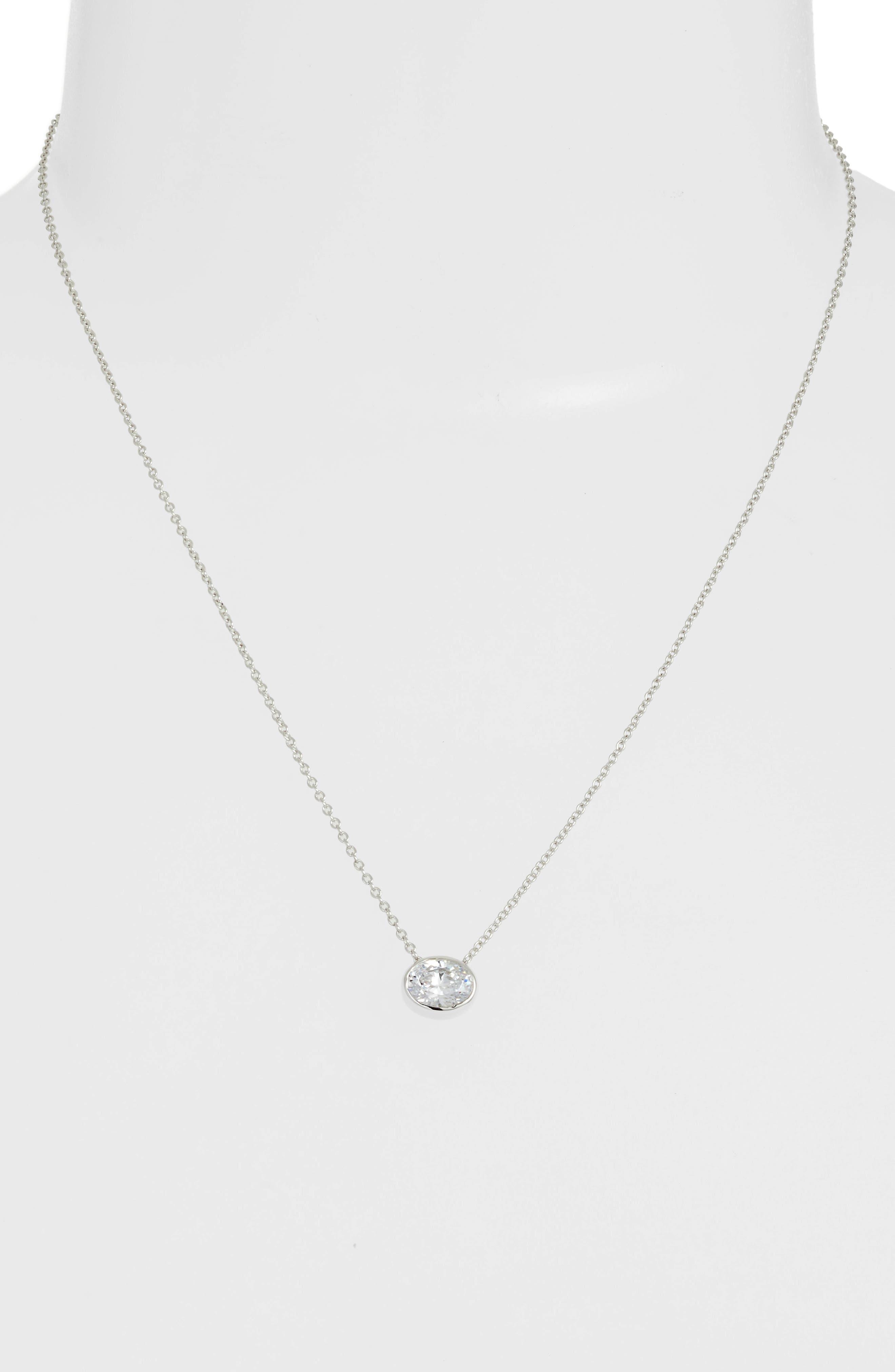 Bezel-Set Cushion-Cut Choker Necklace,                             Alternate thumbnail 2, color,                             SILVER/ CLEAR