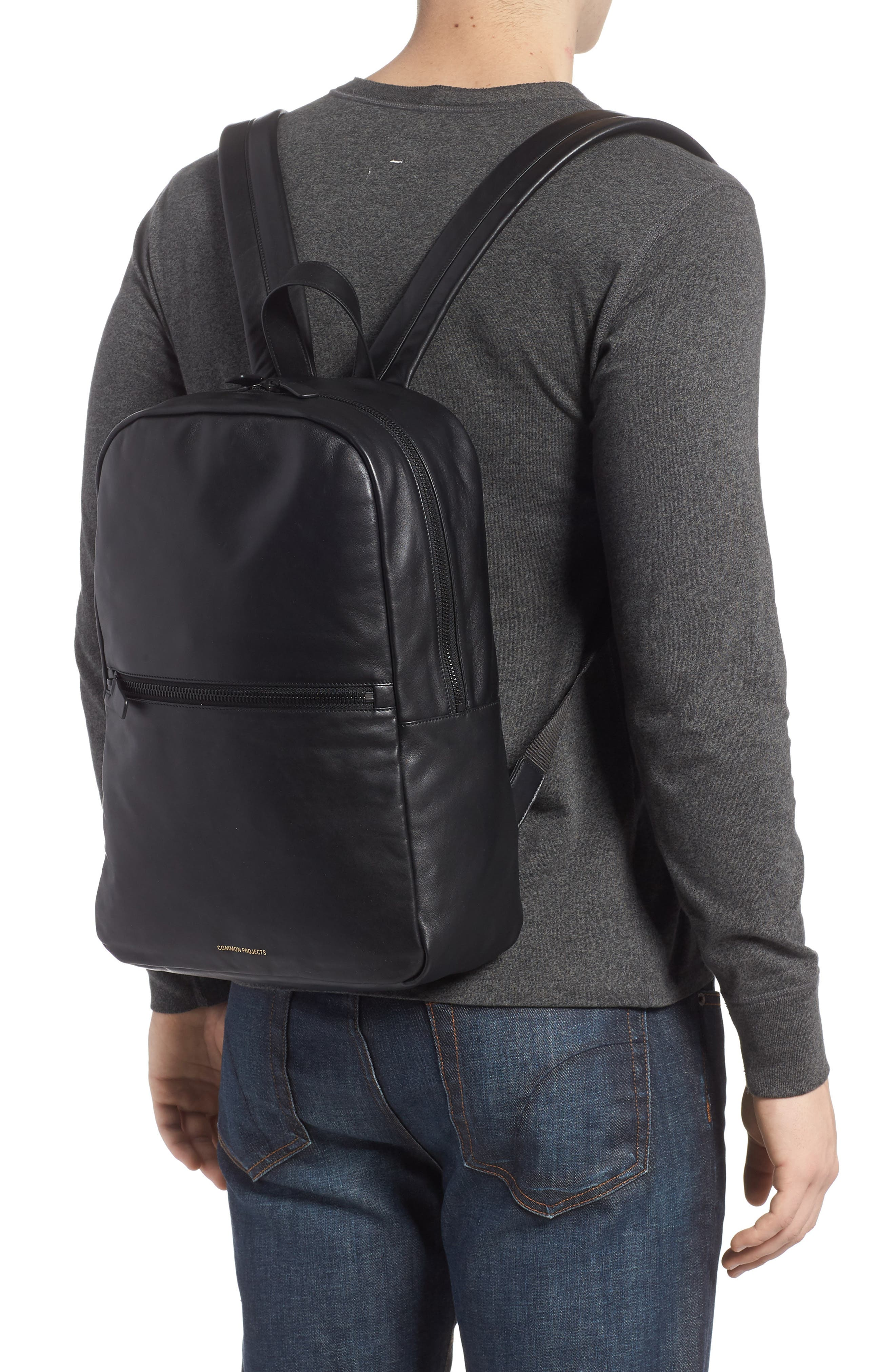 Soft Leather Backpack,                             Alternate thumbnail 2, color,                             BLACK