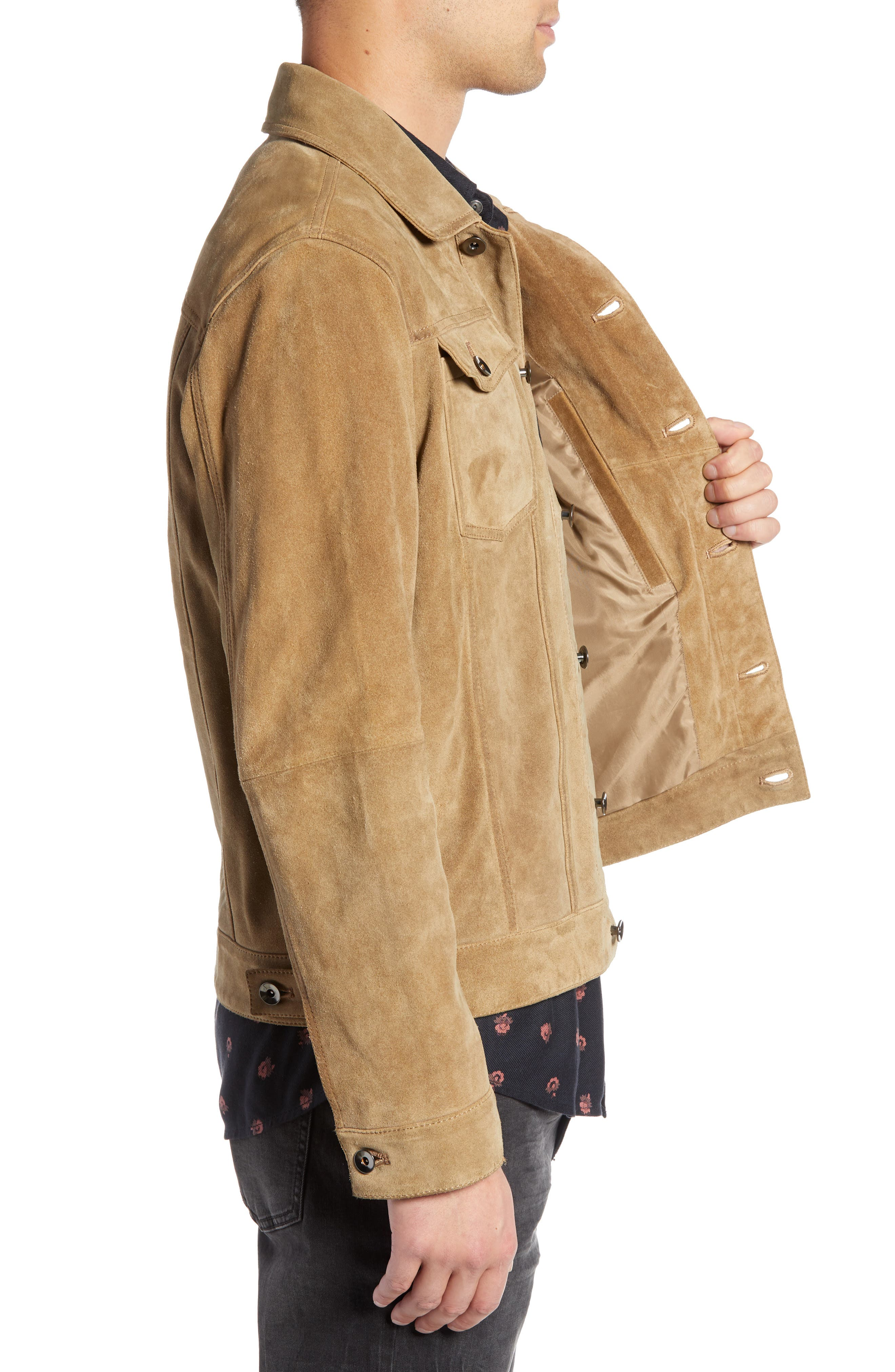 Suede Trucker Jacket,                             Alternate thumbnail 3, color,                             BROWN OTTER