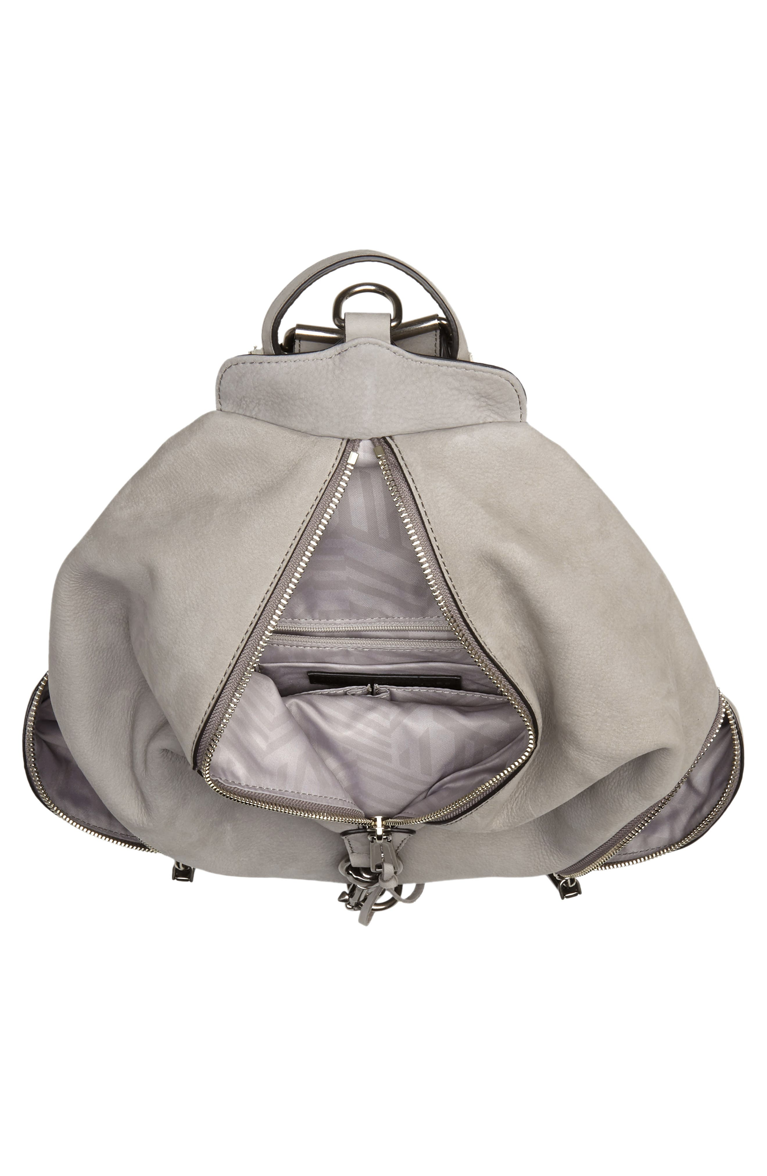 Julian Nubuck Leather Backpack,                             Alternate thumbnail 4, color,                             GREY