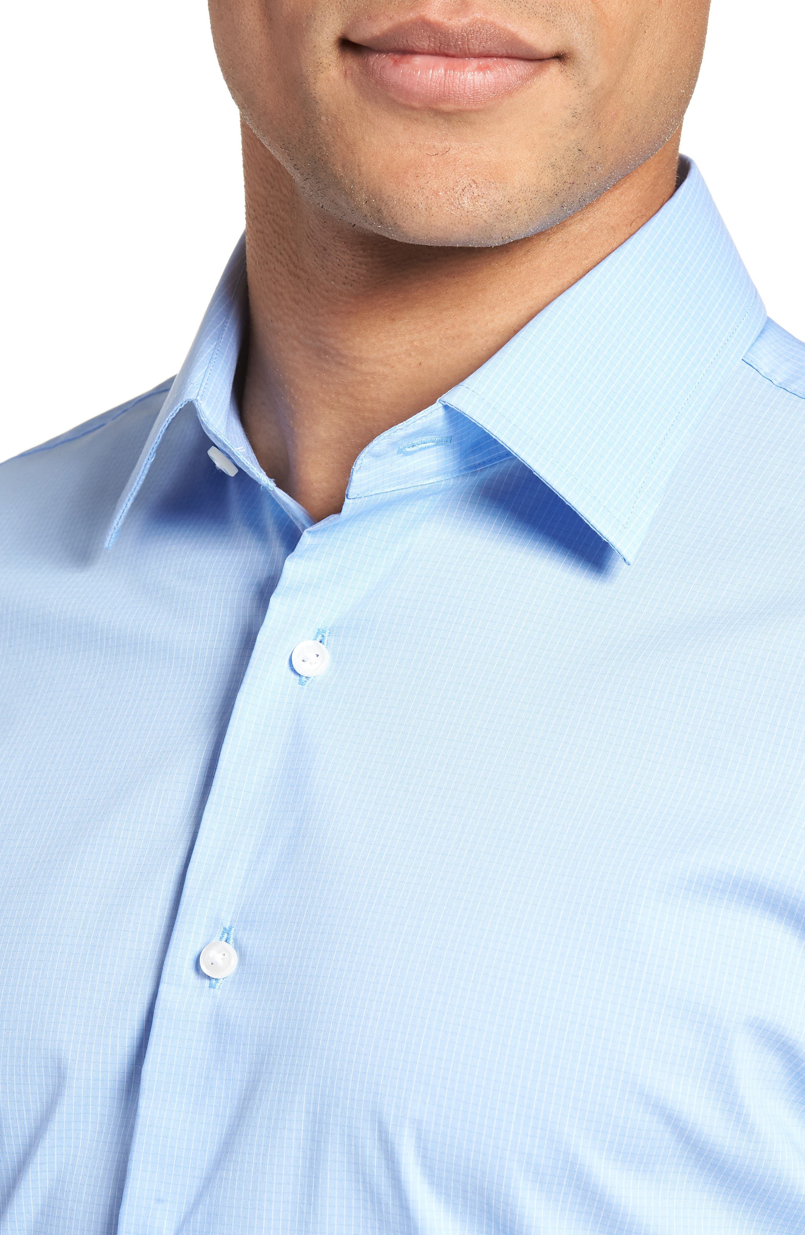Traditional Fit Stretch Check Dress Shirt,                             Alternate thumbnail 4, color,