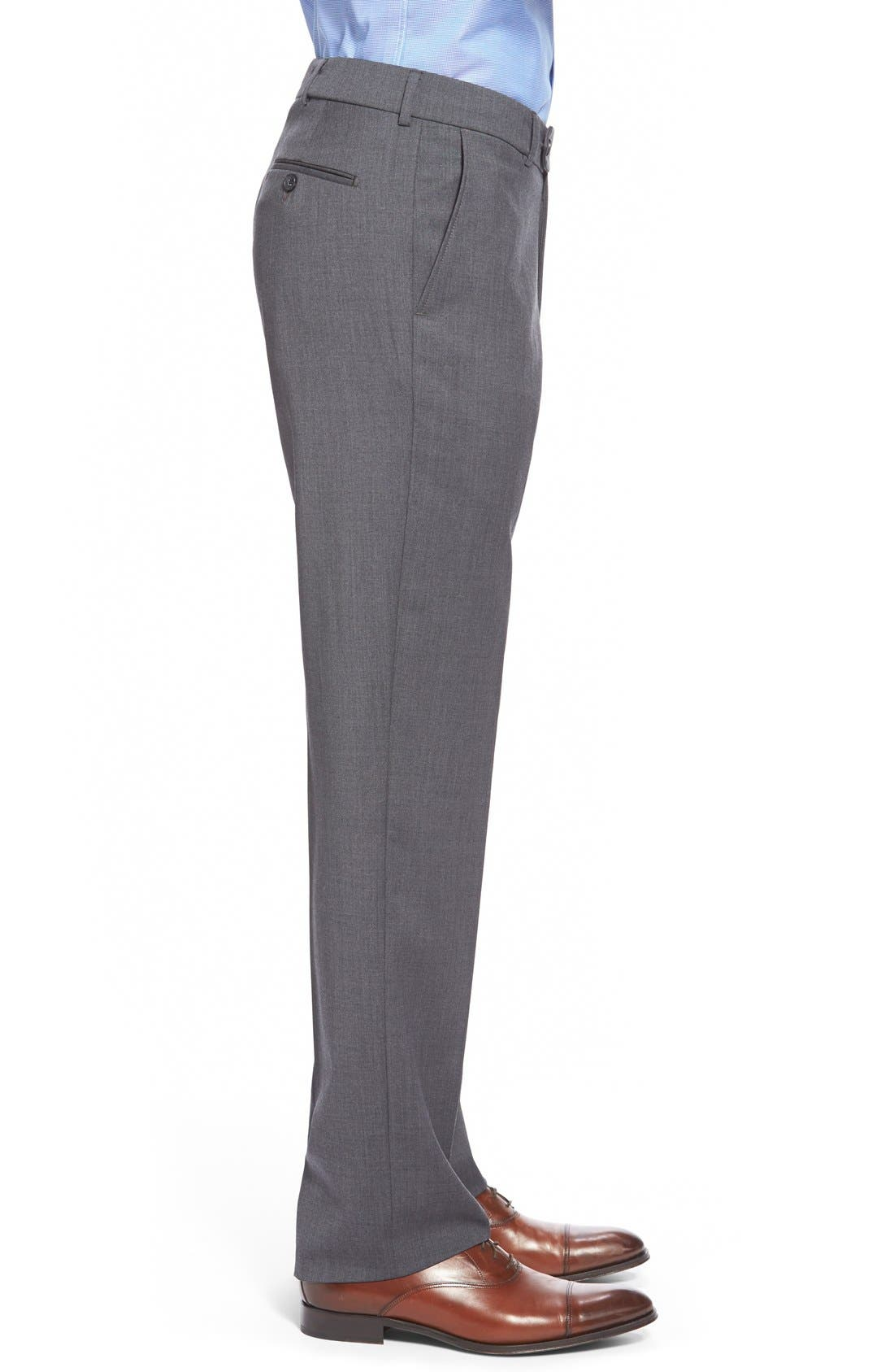 Flat Front Solid Wool Trousers,                             Alternate thumbnail 38, color,
