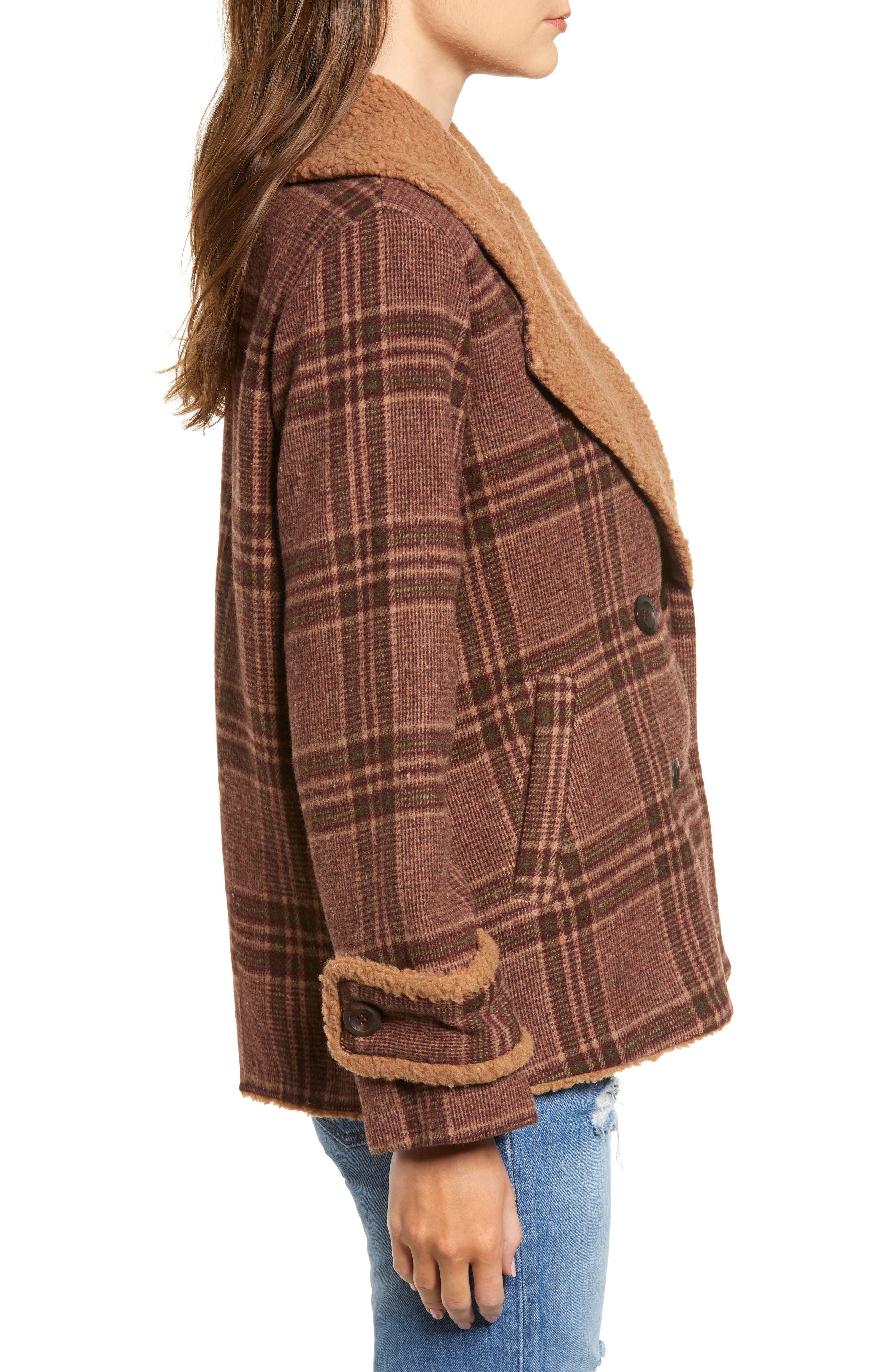 Faux Shearling Trim Plaid Jacket,                             Alternate thumbnail 3, color,                             BROWN PLAID