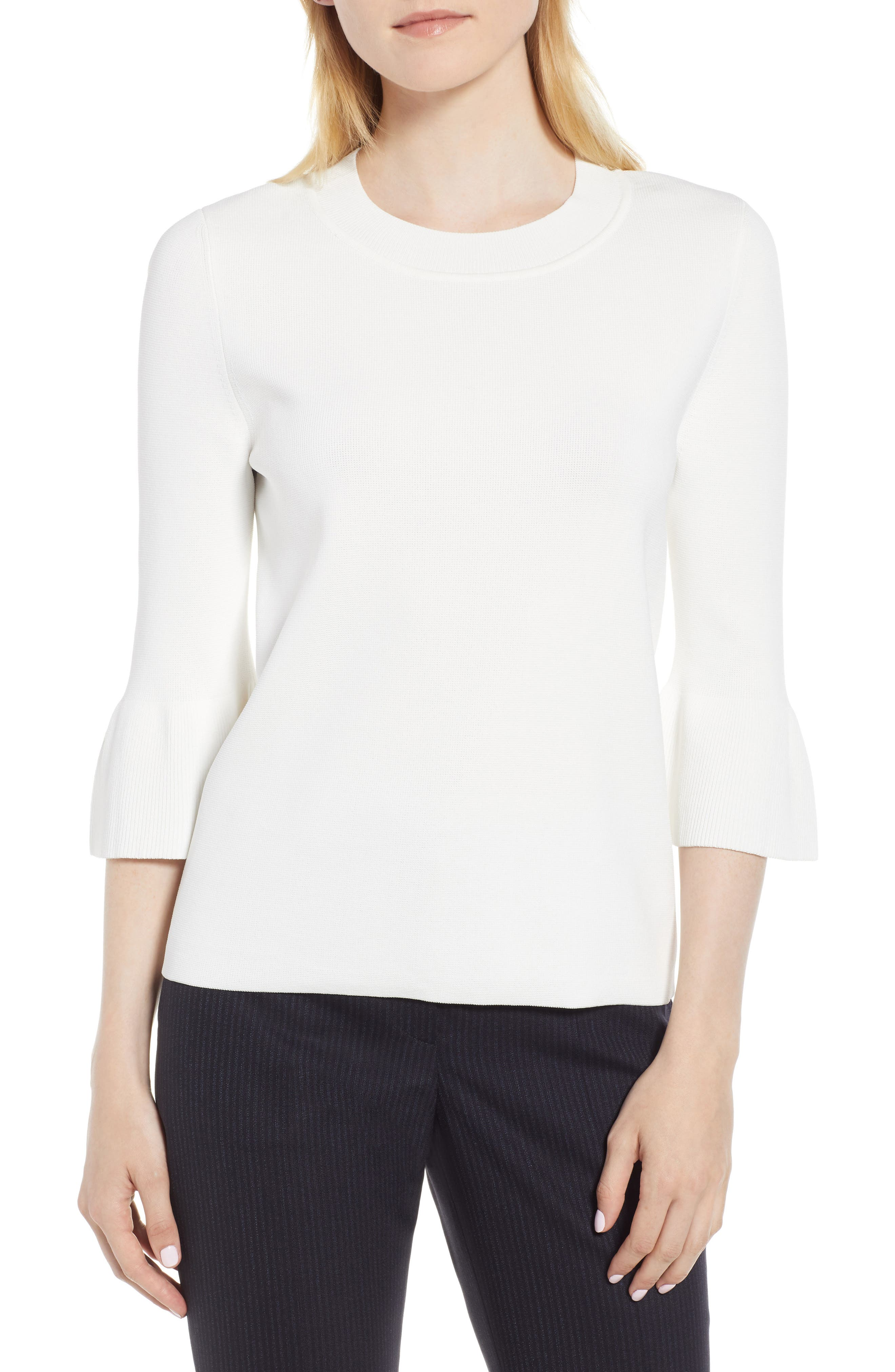 Fenella Tulip Sleeve Top,                         Main,                         color, VANILLA LIGHT