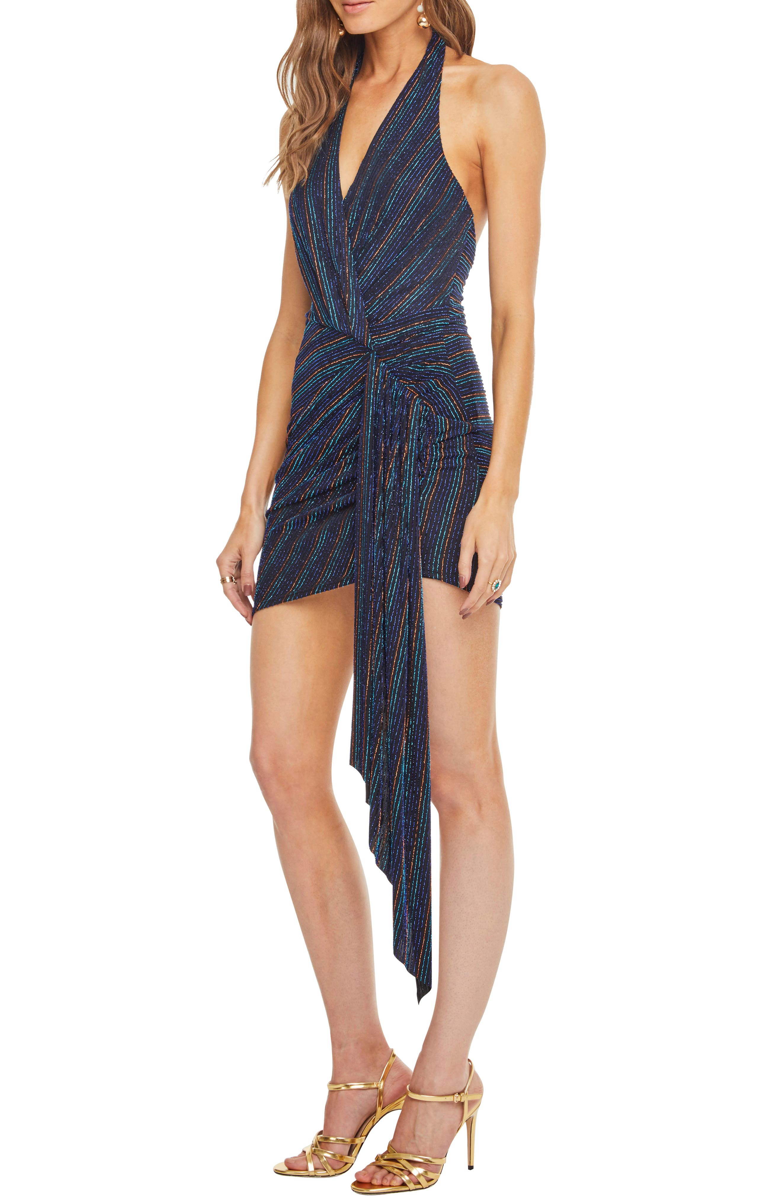 Nightcap Dress,                             Alternate thumbnail 3, color,                             DISCO STRIPE